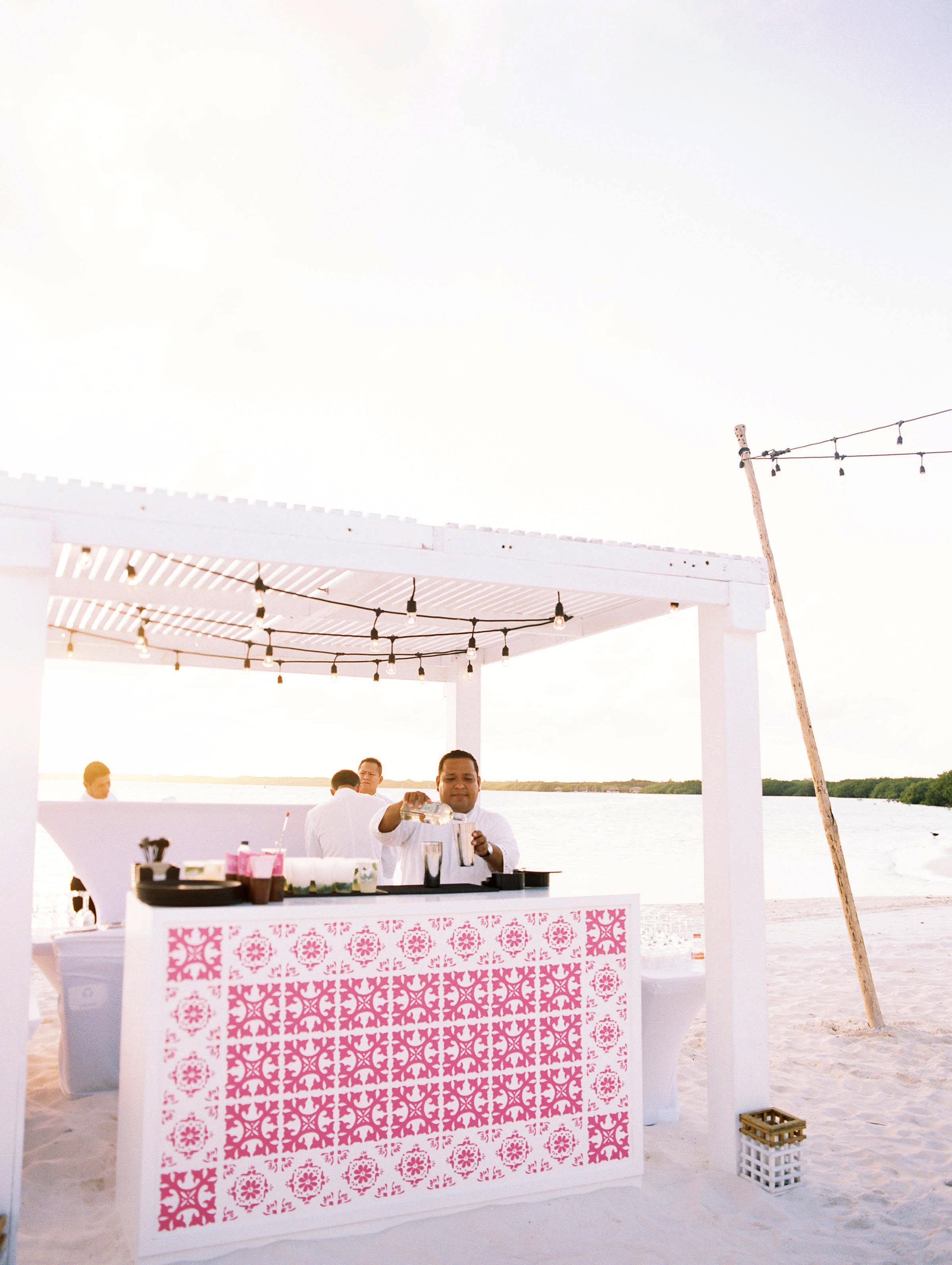 pink mosaic tiles decorated beach bar