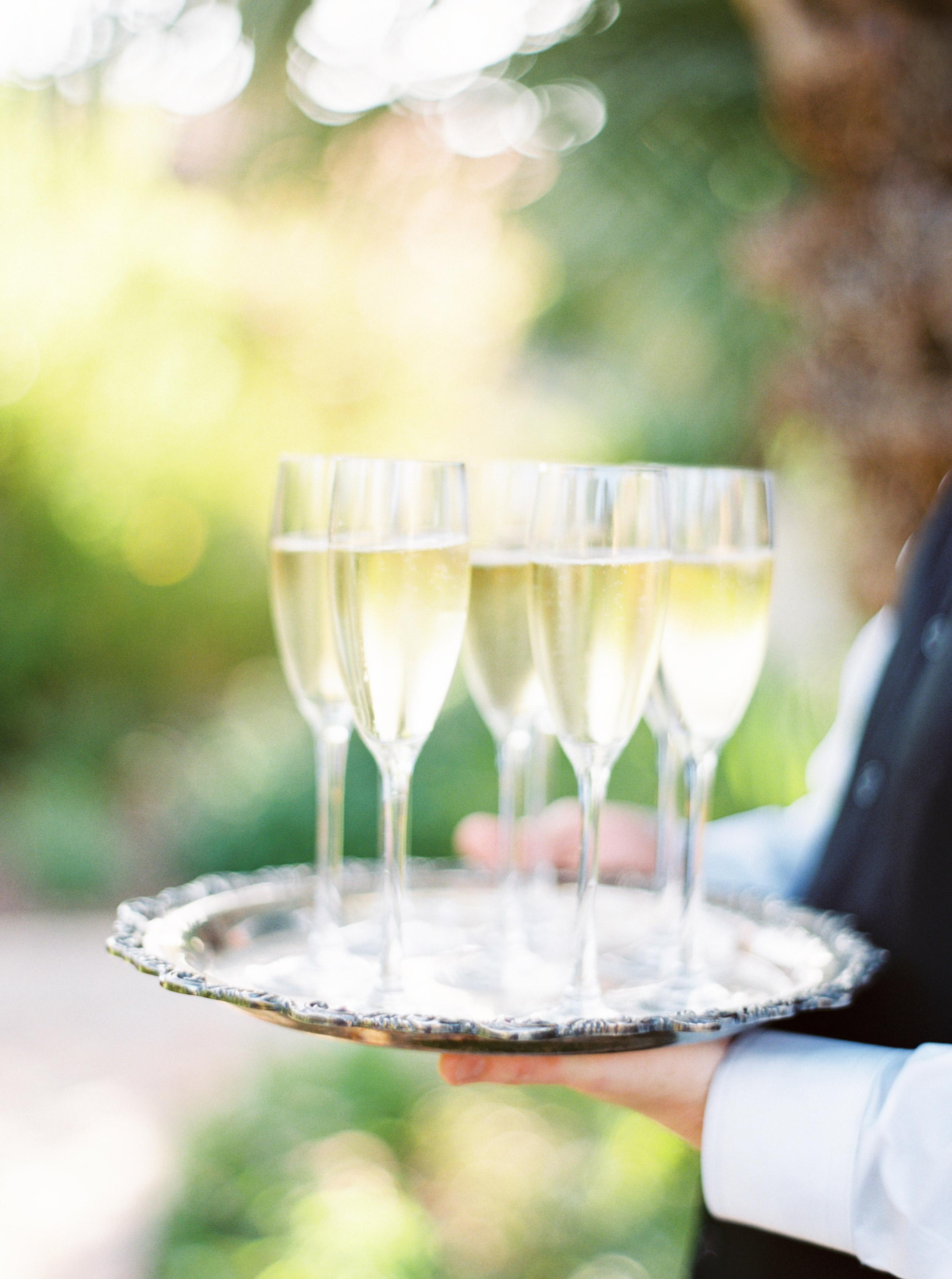 wedding champagne on serving platter
