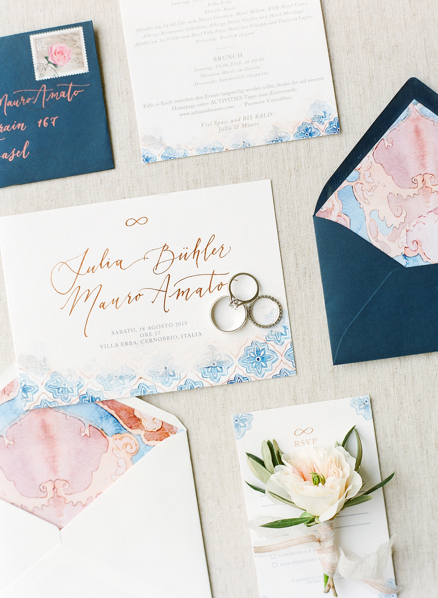 julia mauro wedding blue and pink invitations