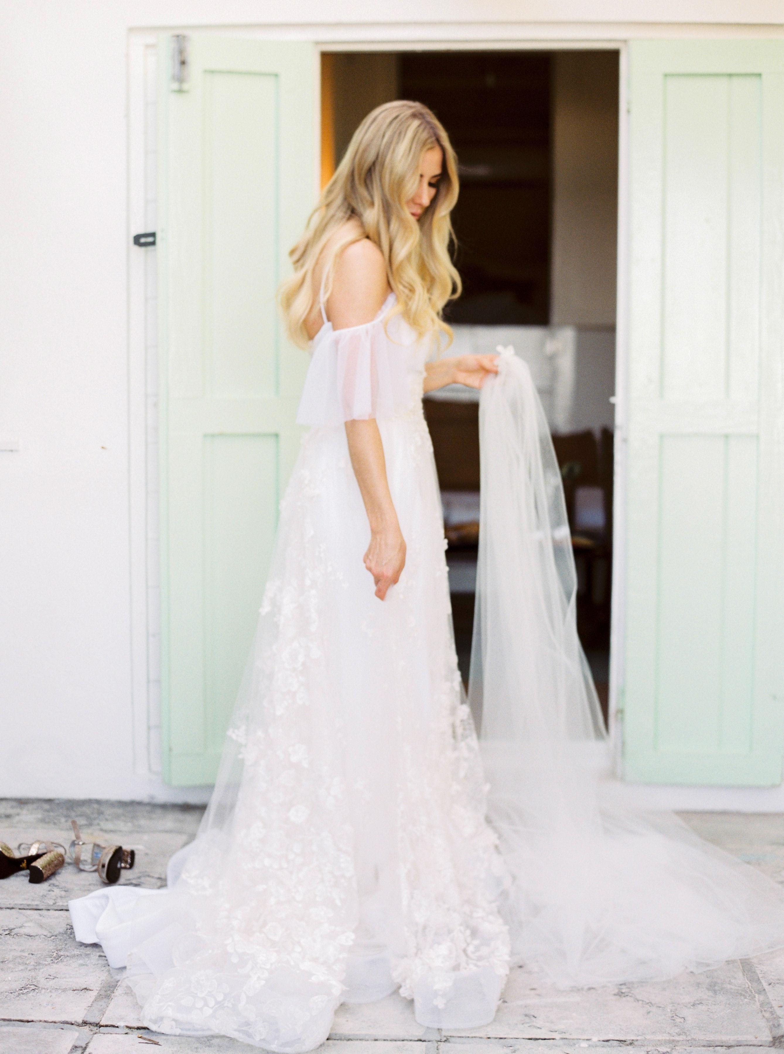 Elizabeth in wedding dress side view