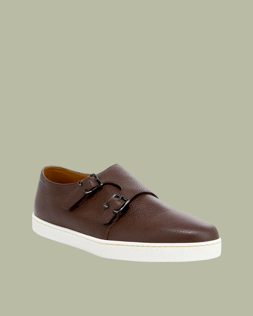 "John Lobb ""Holme"" Double Buckle Grain Monk Strap Leather Sneakers"