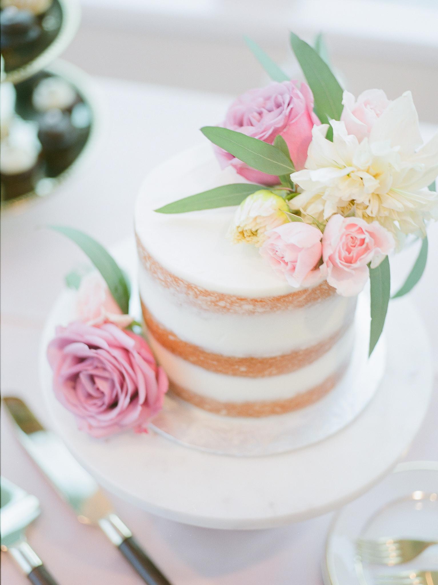 wedding semi-naked lemon cream pie cake with cut flowers