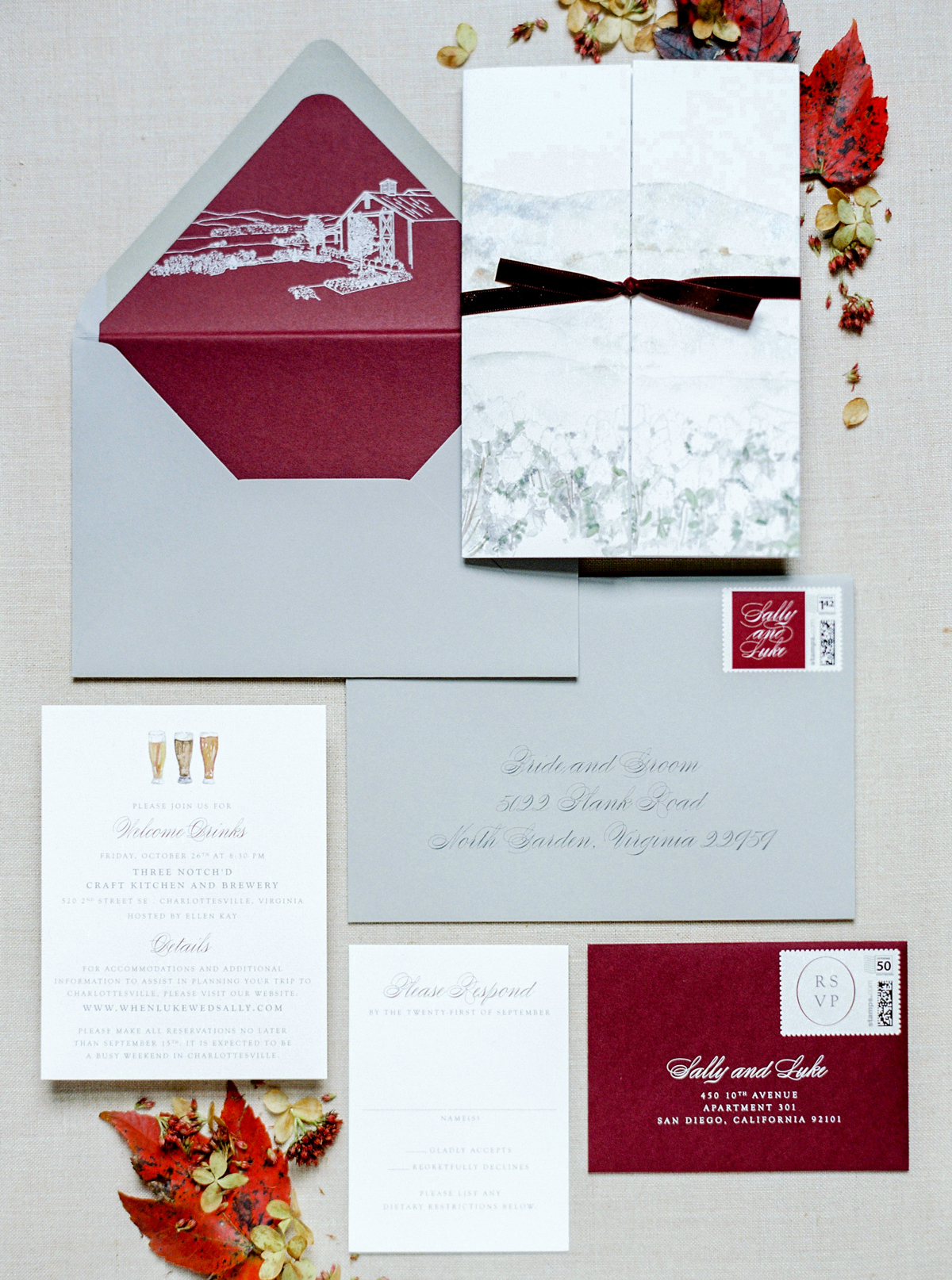 burgundy and gray wedding invitations