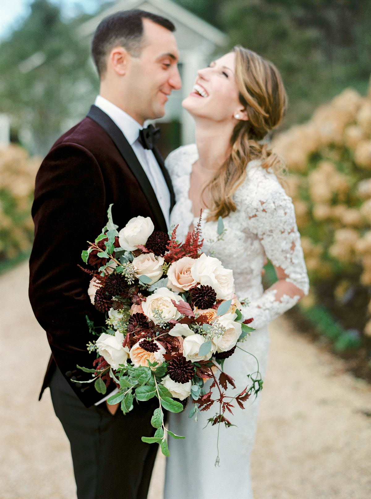 burgundy and blush floral and greenery wedding bouquet
