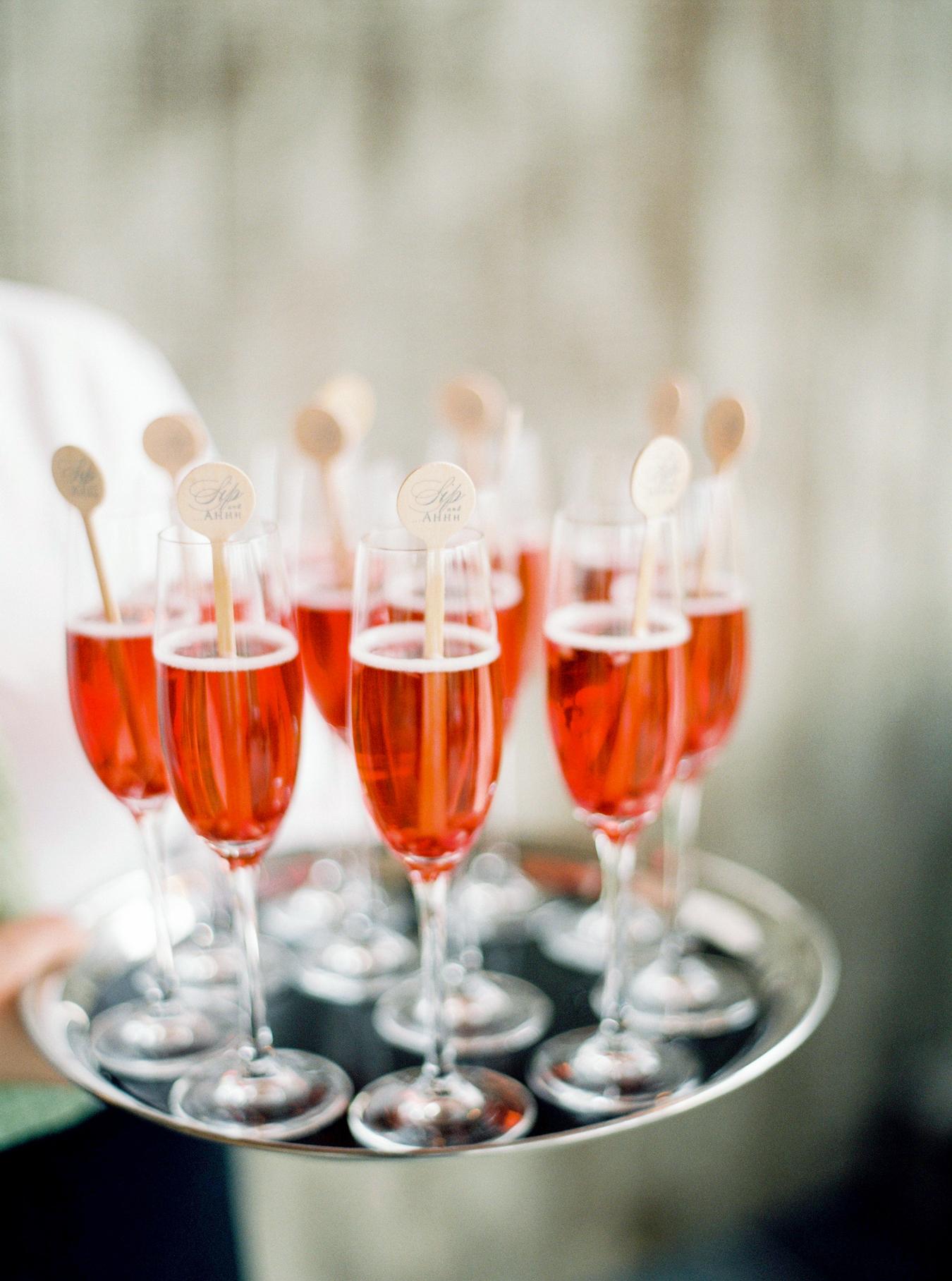 red cocktails on serving platter