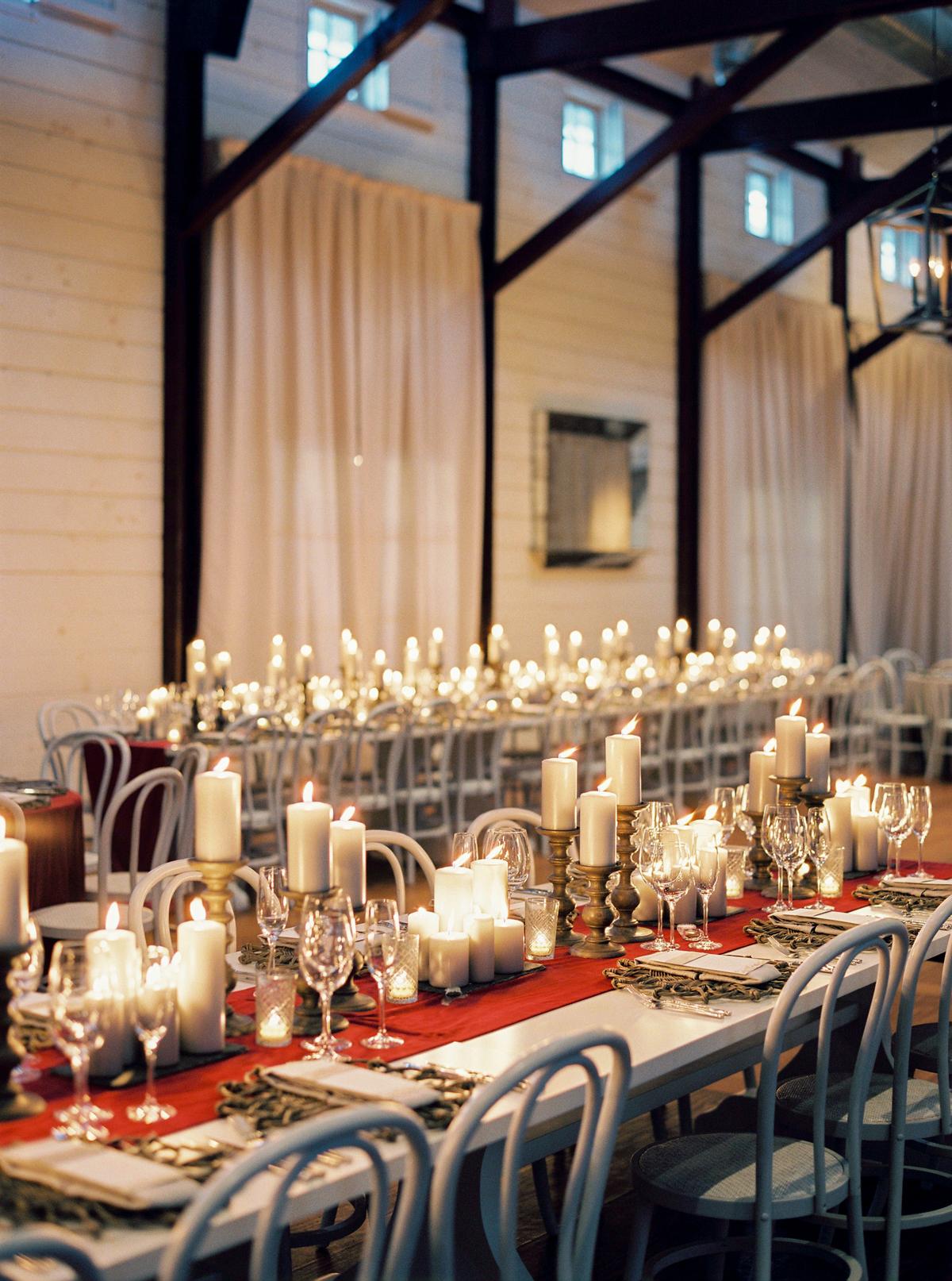 lanterns and garland reception decor