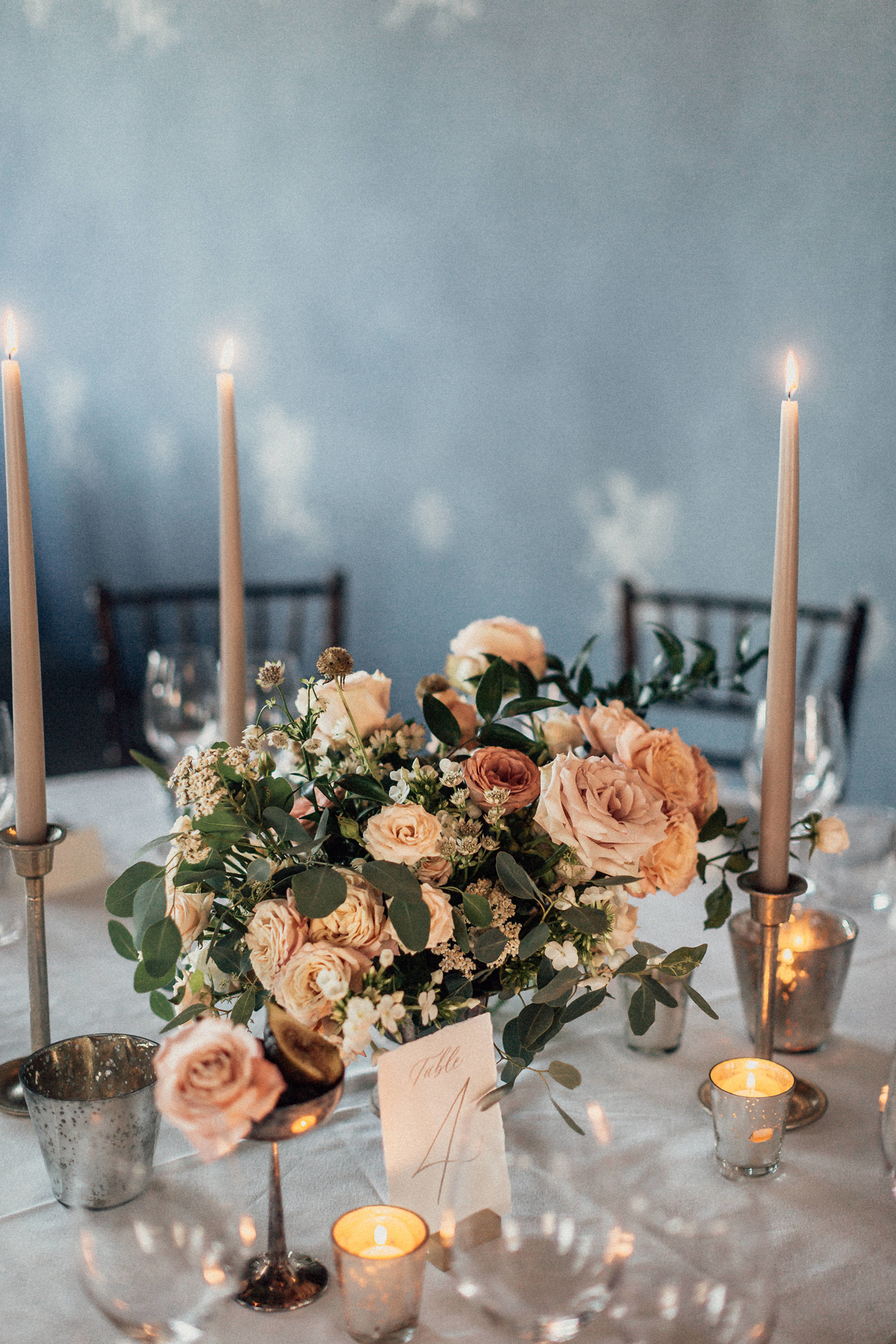 natalie paul wedding floral centerpiece and candles
