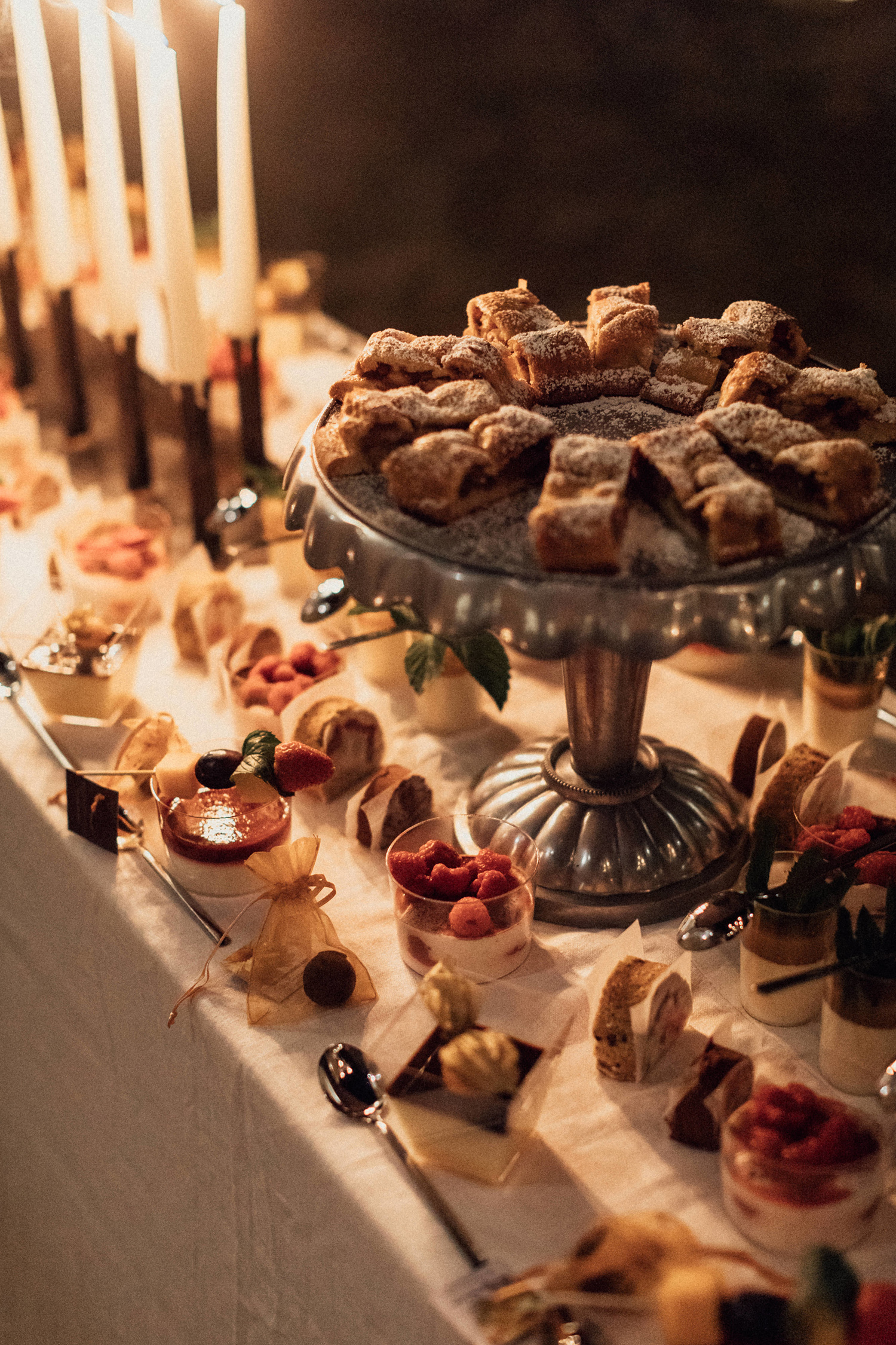 natalie paul wedding candle lit dessert table