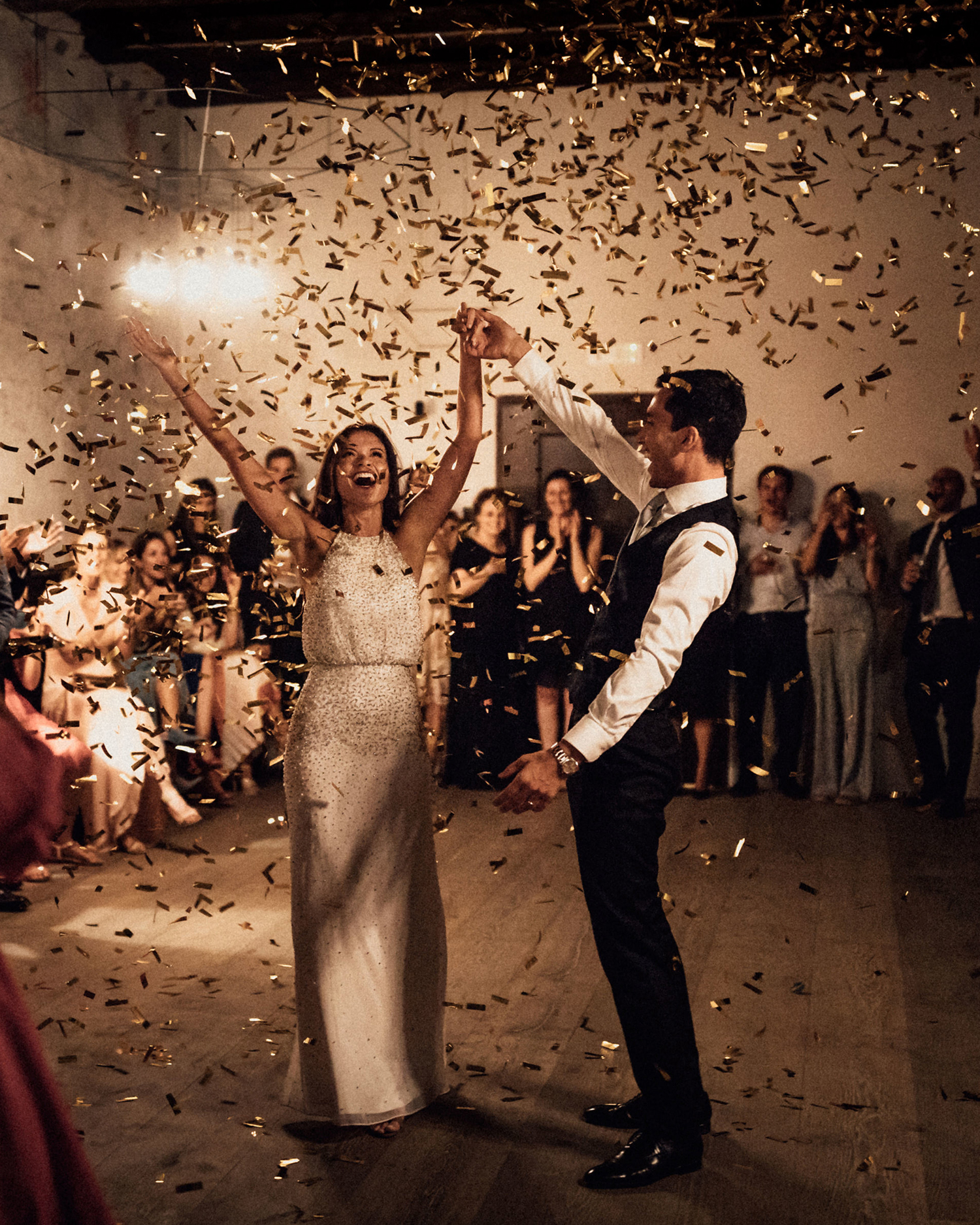 natalie paul wedding bride and groom reception golden confetti