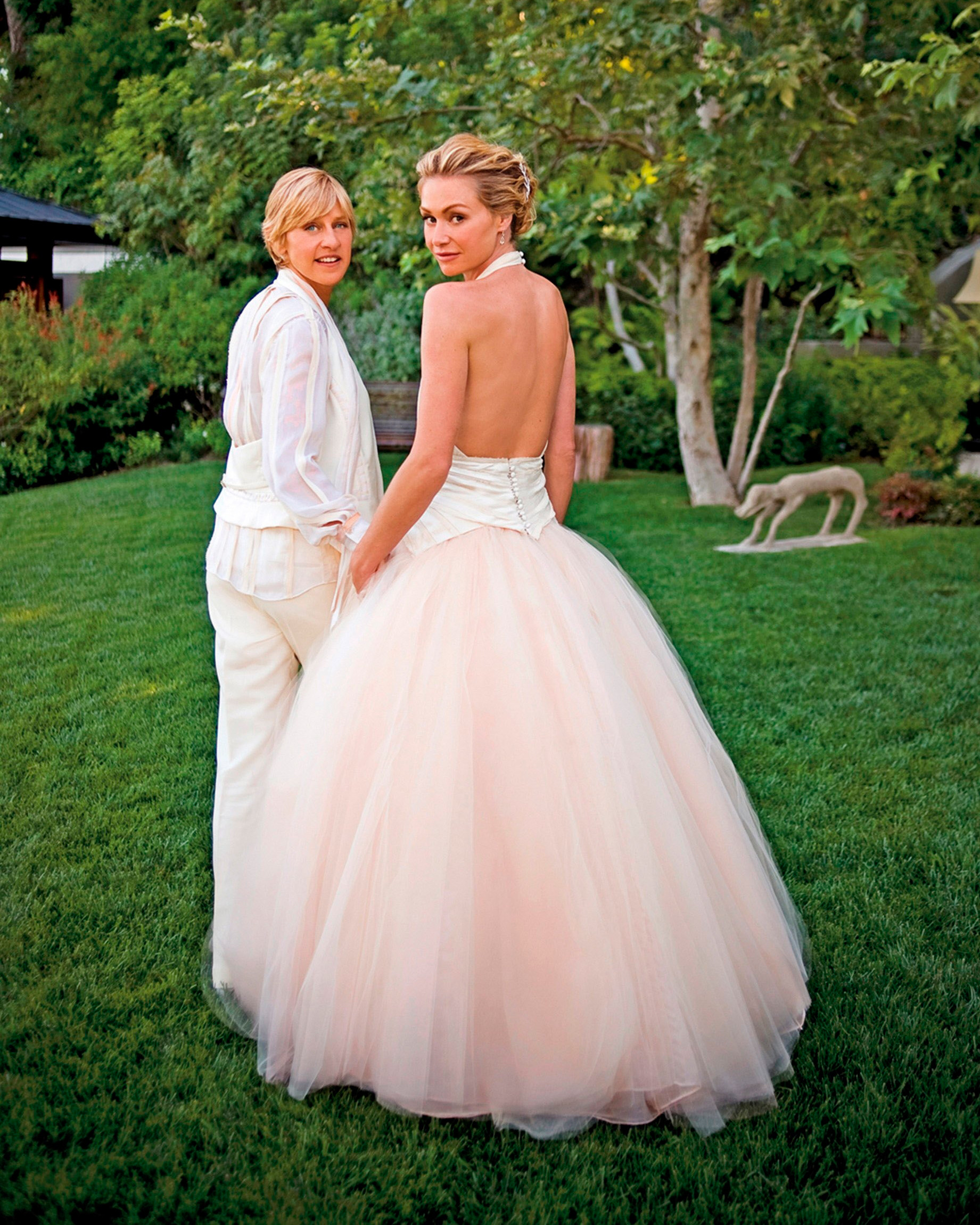 Celebrity Wedding Outfits 2019: Celebrity Brides Who Wore Pink Wedding Dresses