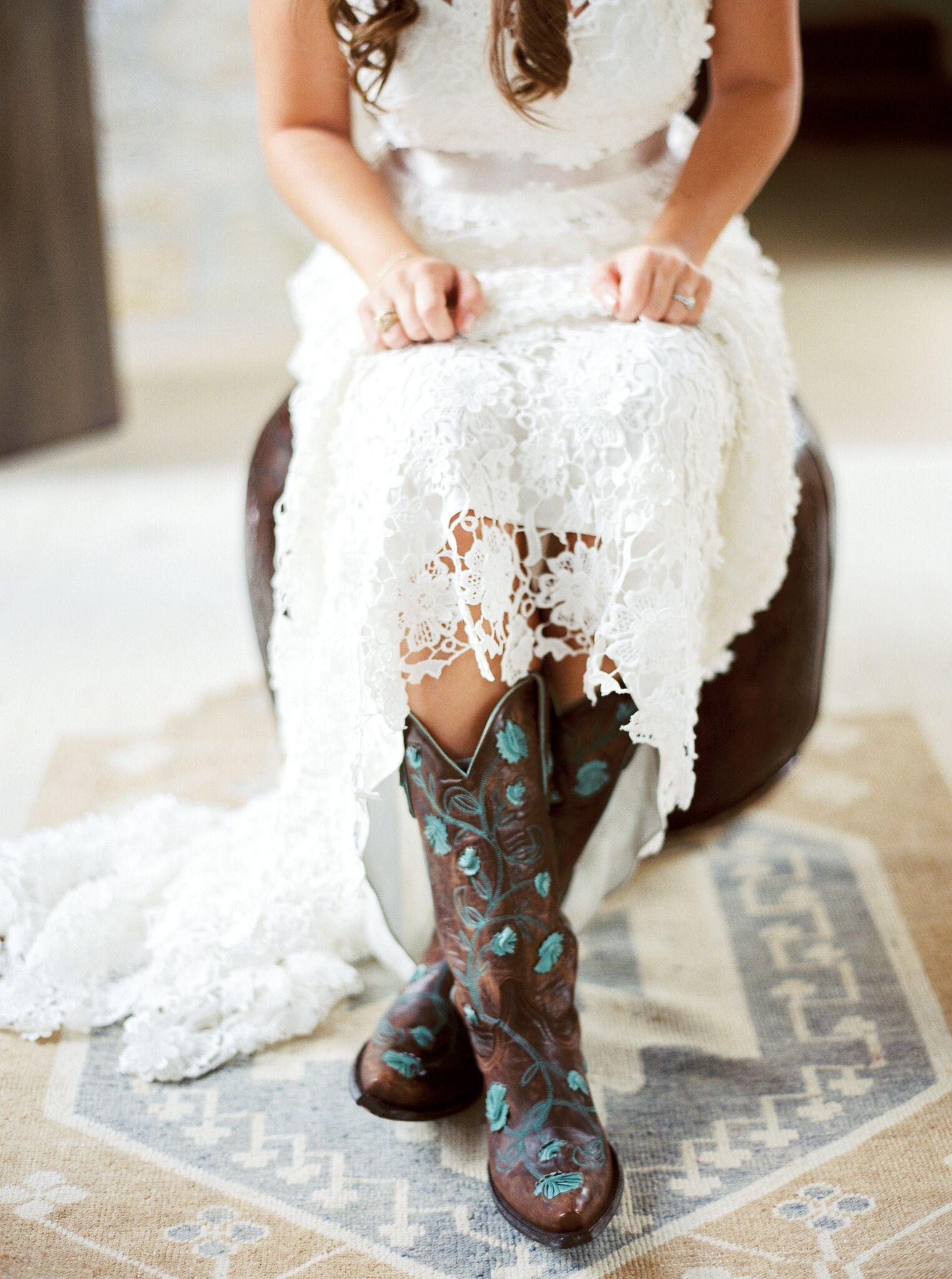 kelsey jacob wedding bride cowboy boots