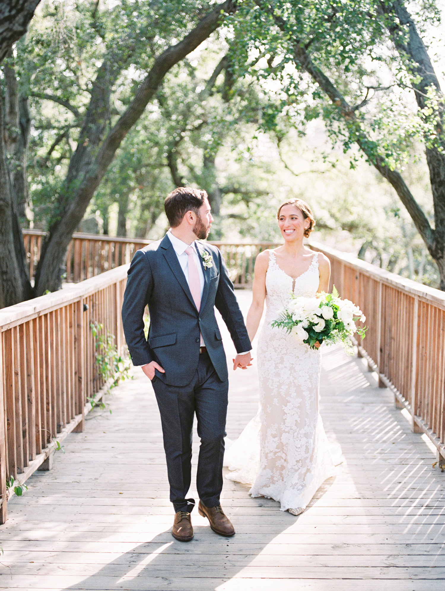 This Couple Exchanged Vows in Malibu, Surrounded by Oak Trees and Natural Waterfalls