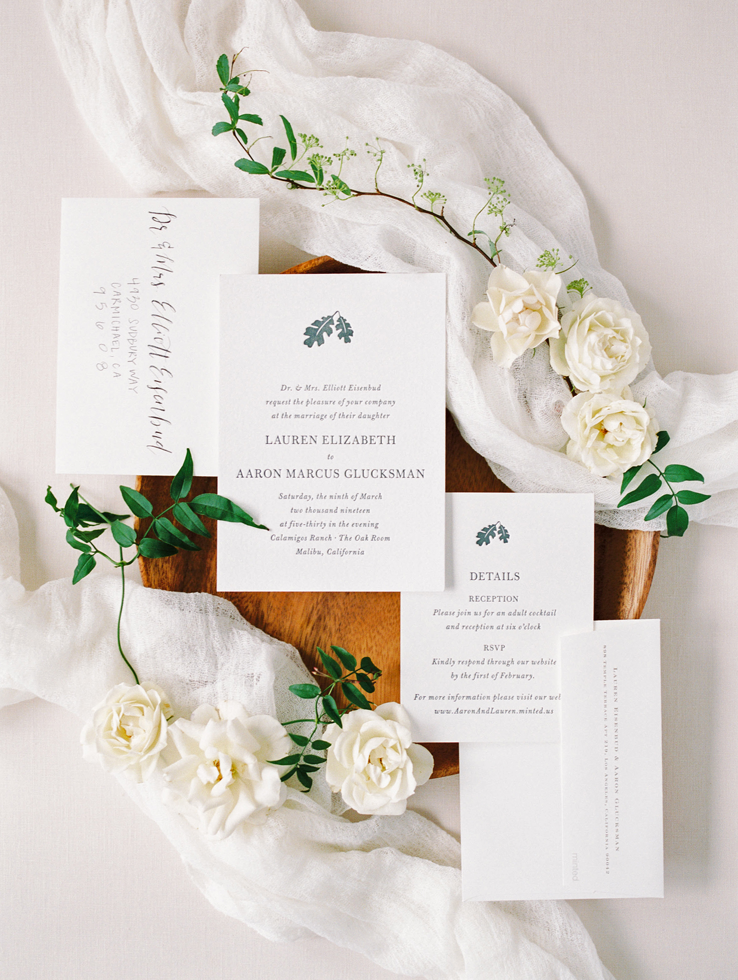 lauren aaron wedding invites and white flowers
