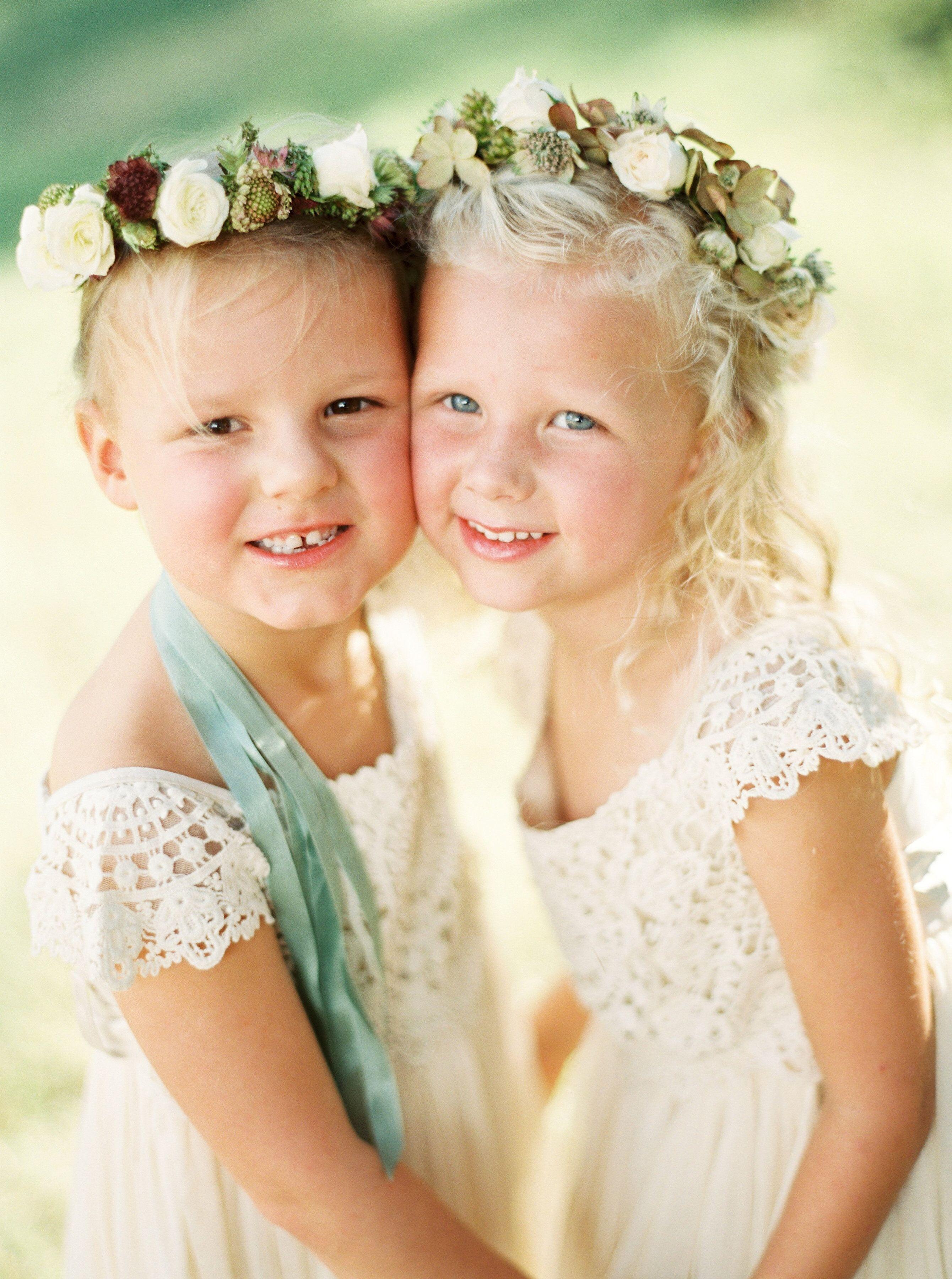 kelsey jacob wedding flower girls in white