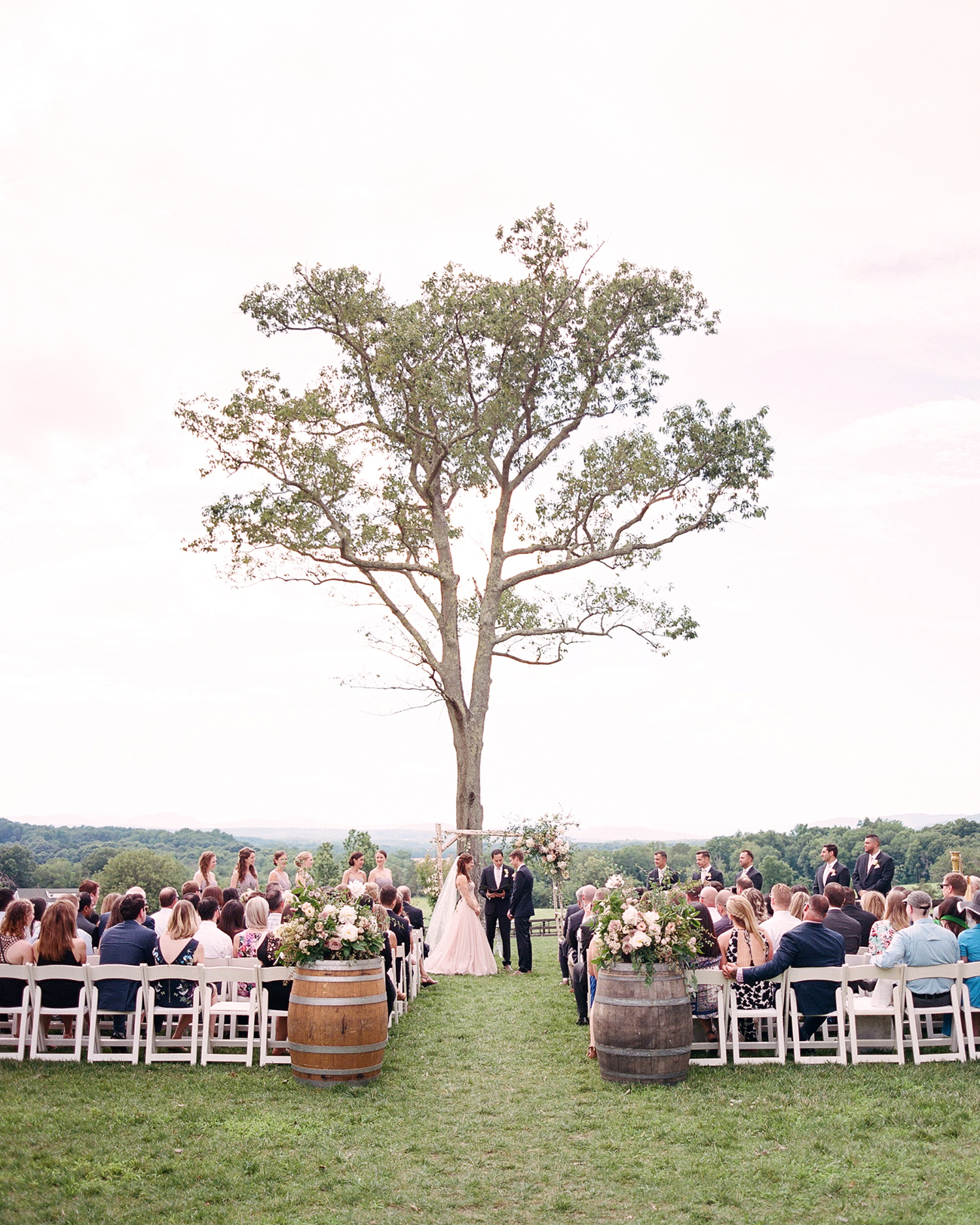 single tree wedding ceremony alter decor