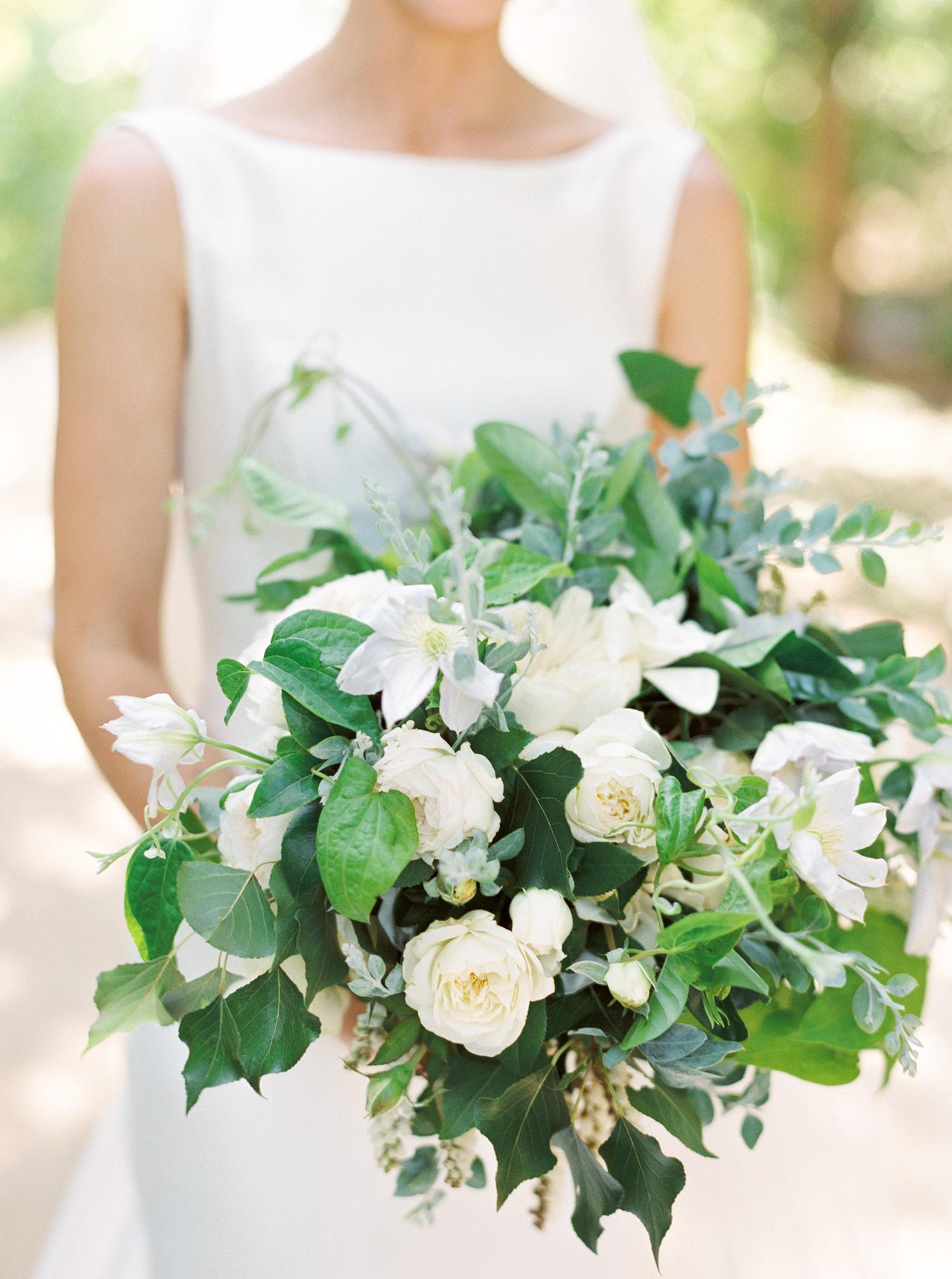 katie mike bride wedding bouquet white flowers
