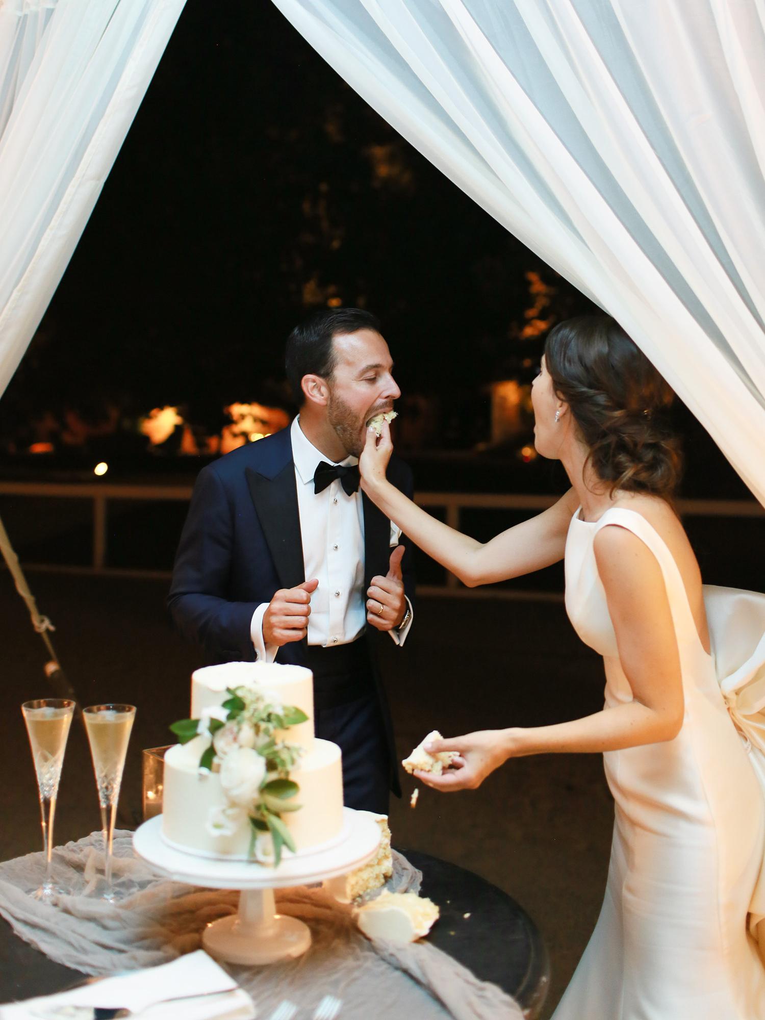 katie mike wedding cake smash bride and groom