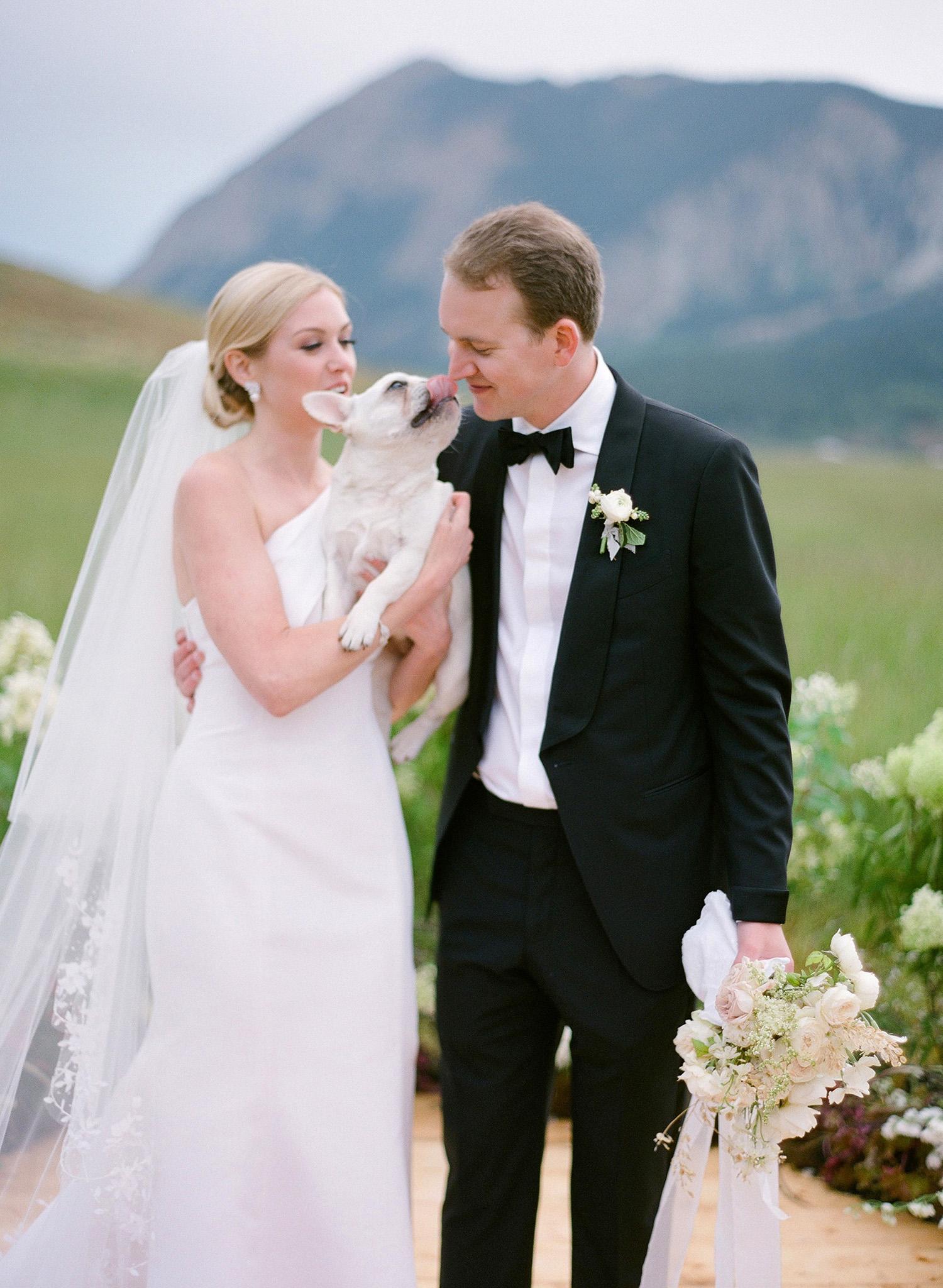 sloan scott wedding couple holding dog