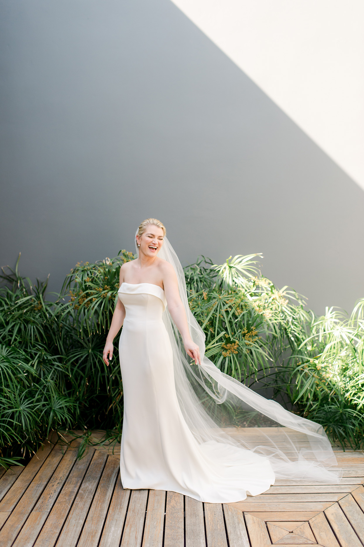 katie nick wedding bride laughing
