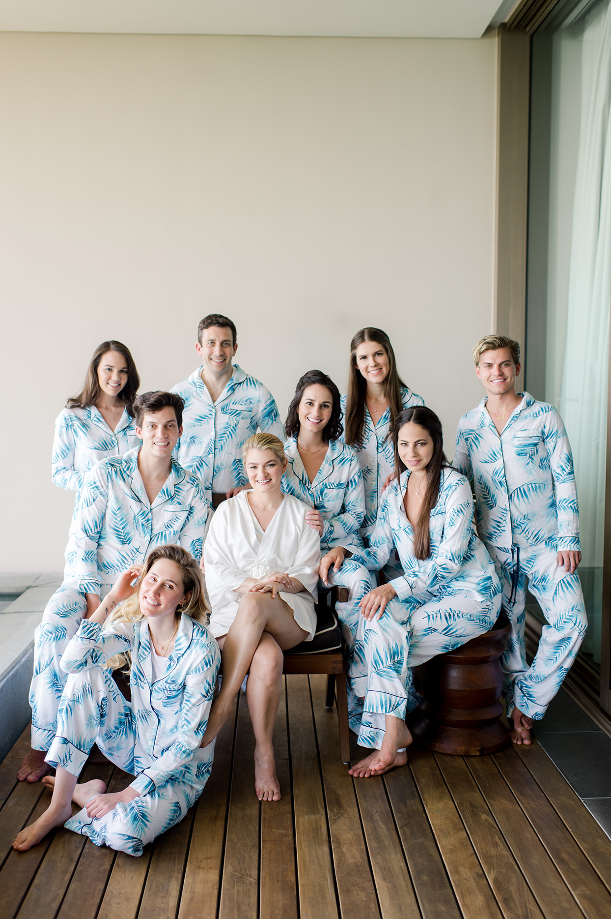 katie nick wedding bride and party in matching pajamas getting ready
