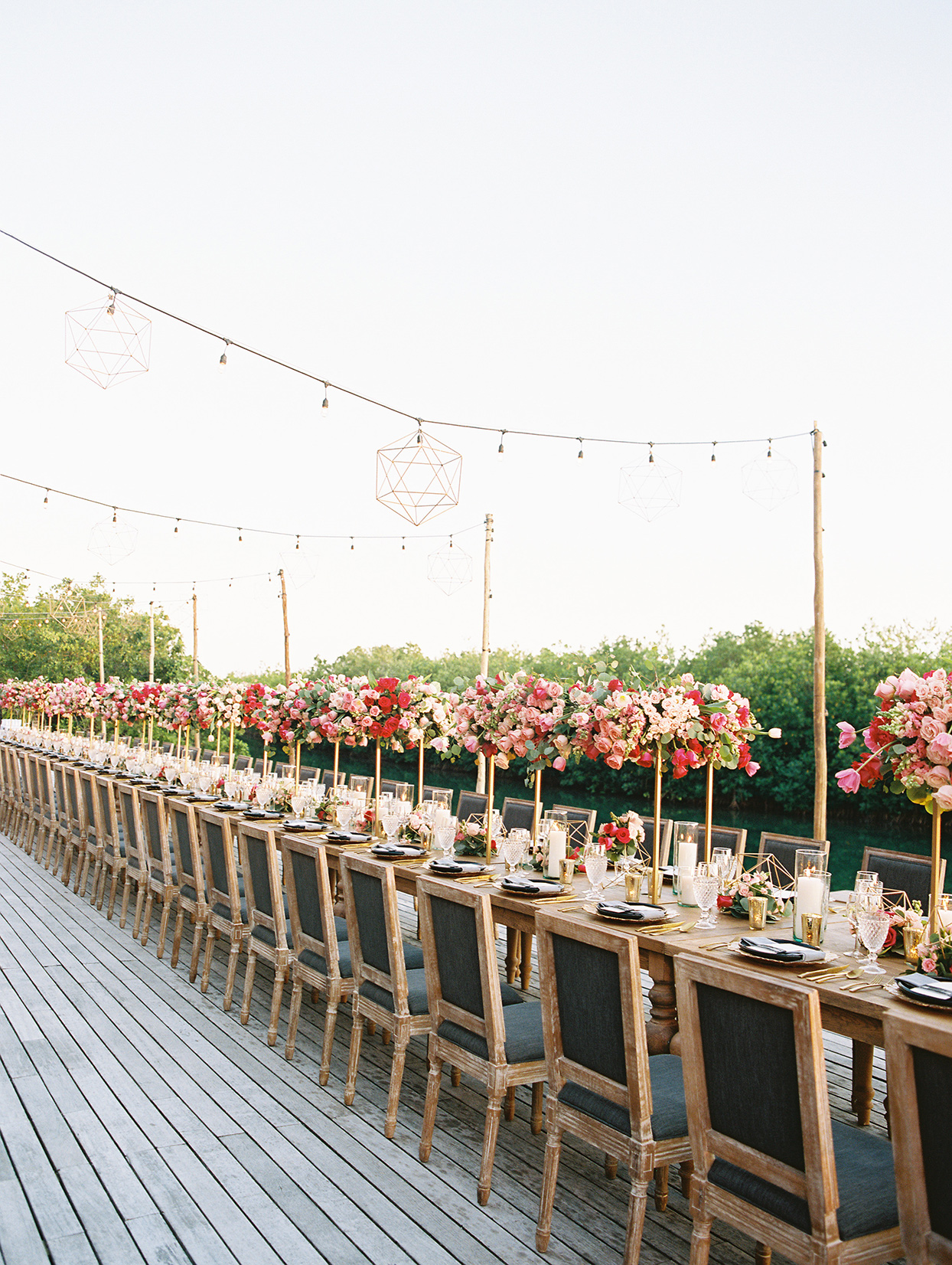 katie nick wedding reception long table with pink flowers