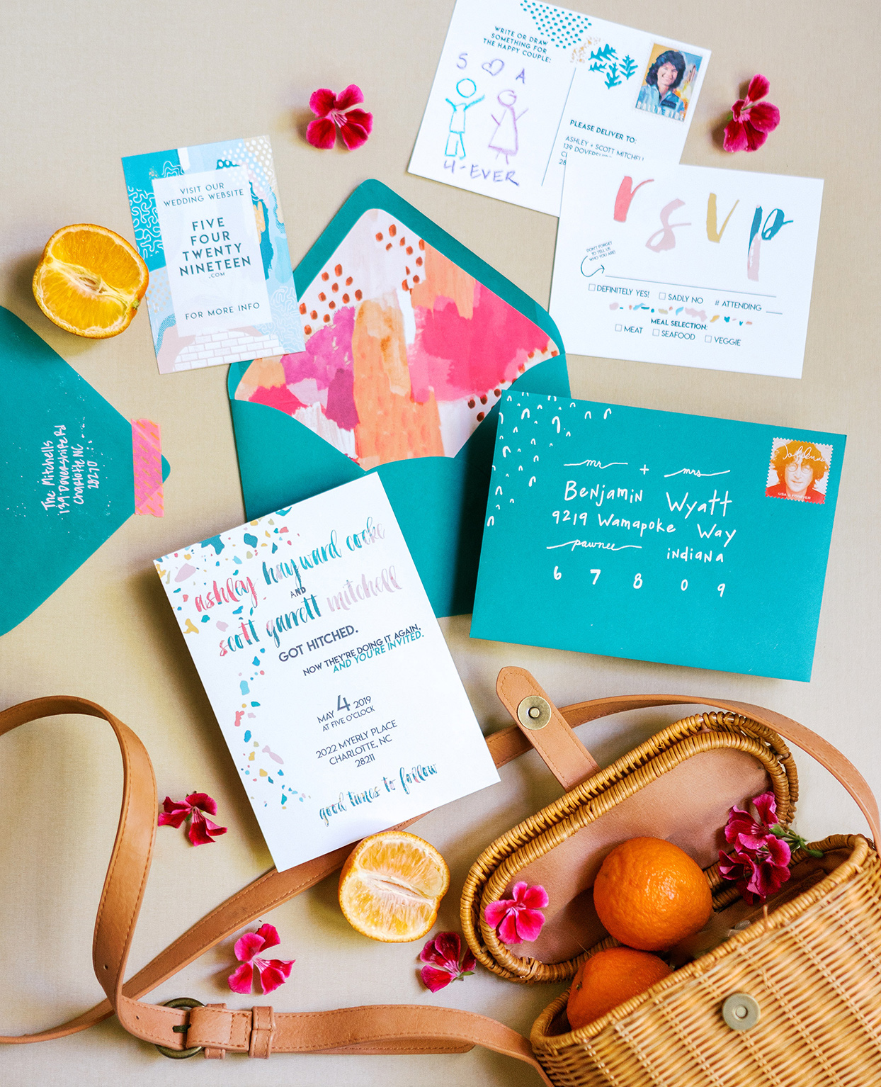 ashley scott colorful blue and pink wedding invitations