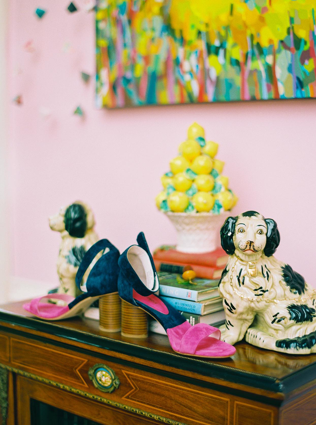 ashley scott wedding bride's shoes on ornate dresser