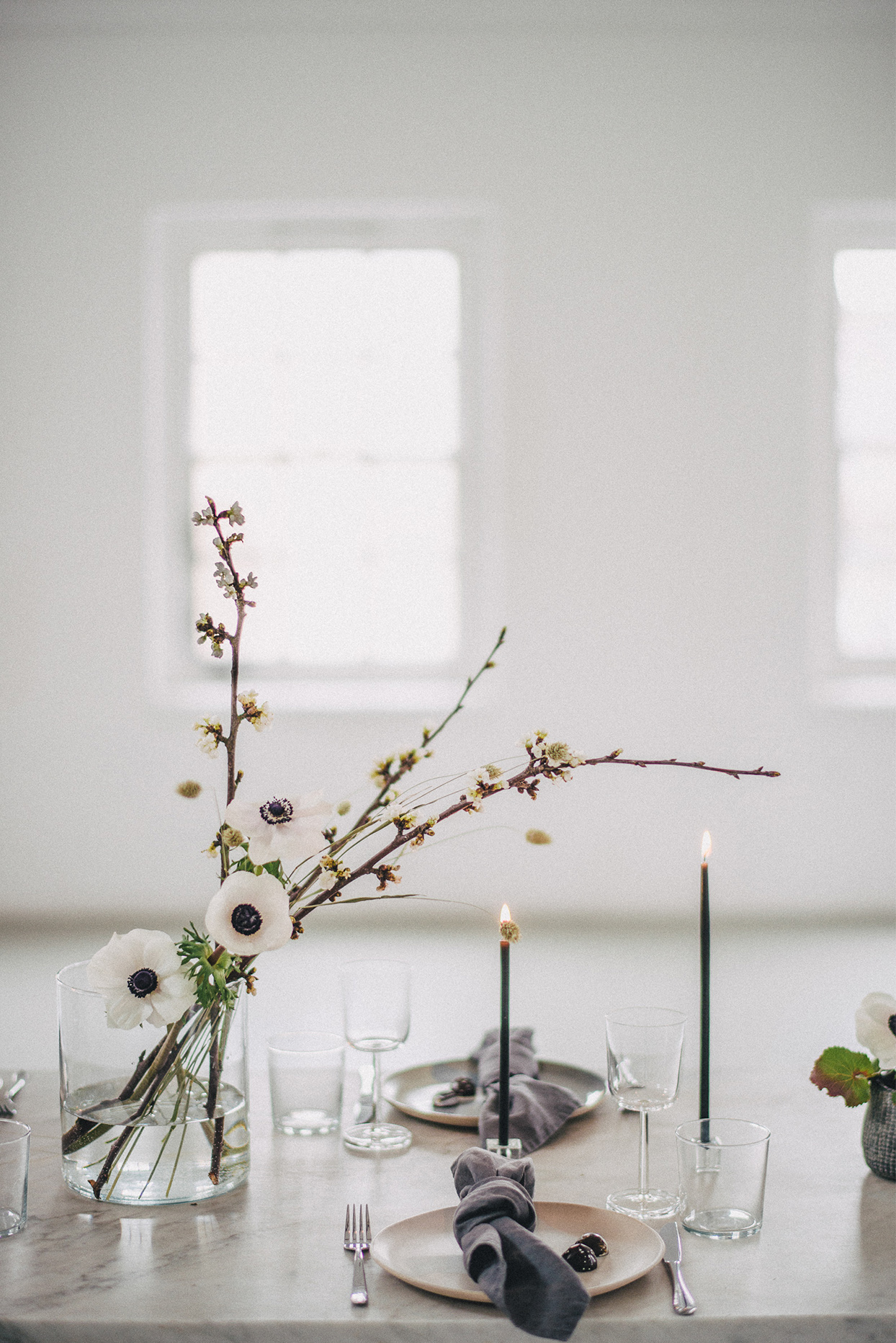 minimalist ikebana anemone bloom on table