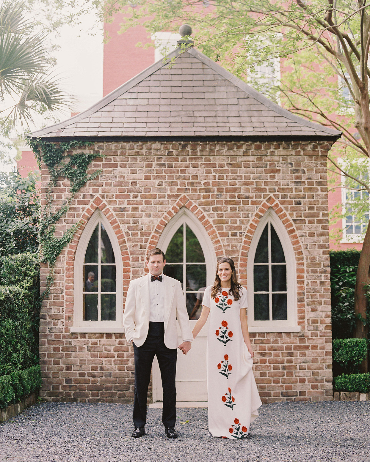 The Bride's Embroidered Wedding Dress Inspired Every Part of This Red-and-White Charleston Celebration