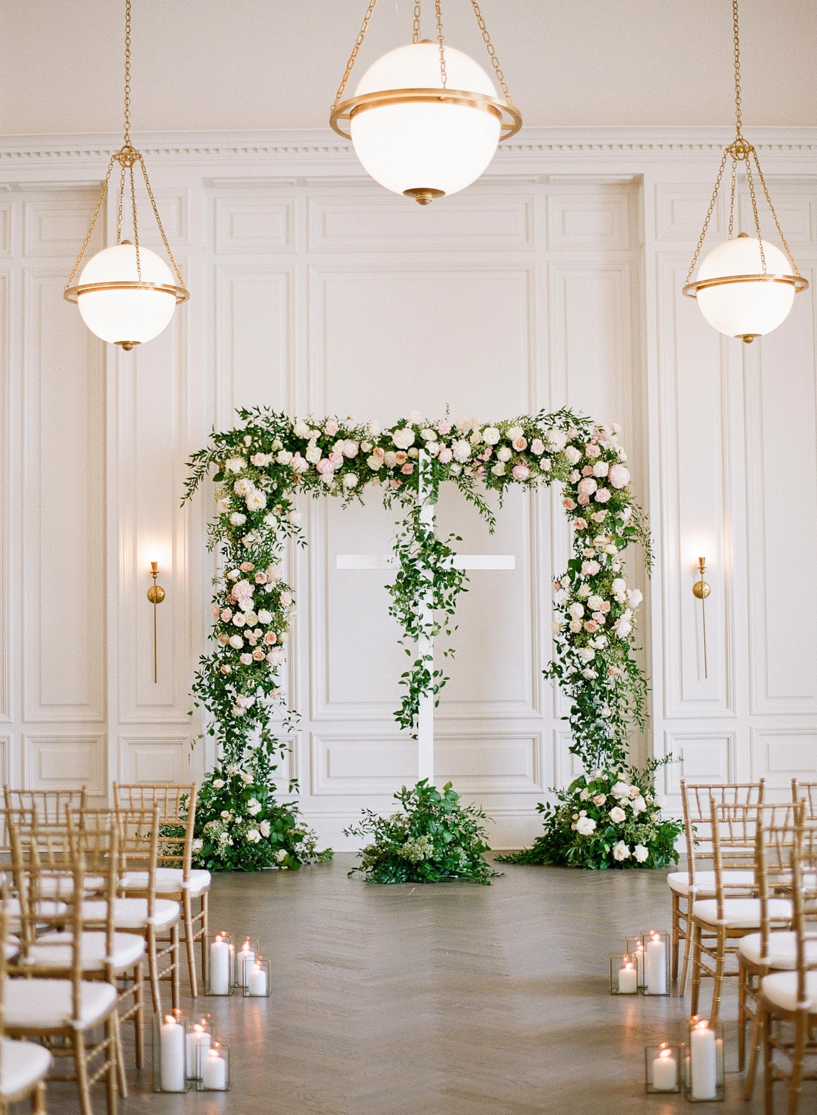 olivia collin wedding ceremony floral arch