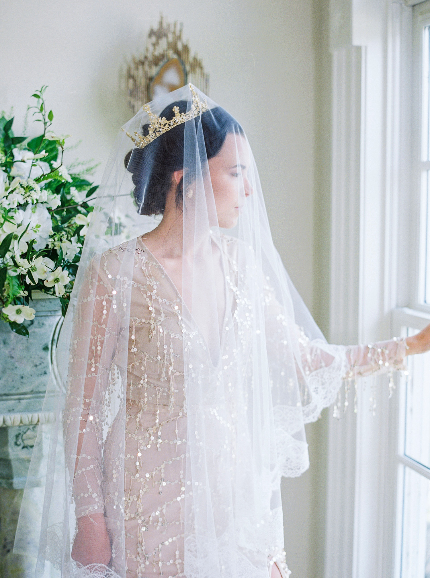 evan dustin vow renewal bride with veil and crown