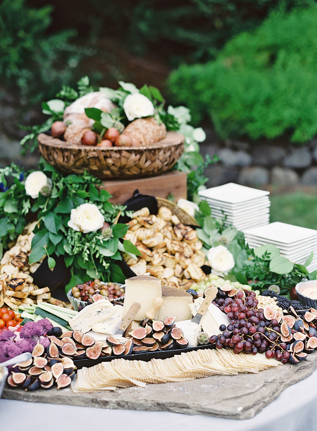 wedding grazing board with fruits and figs