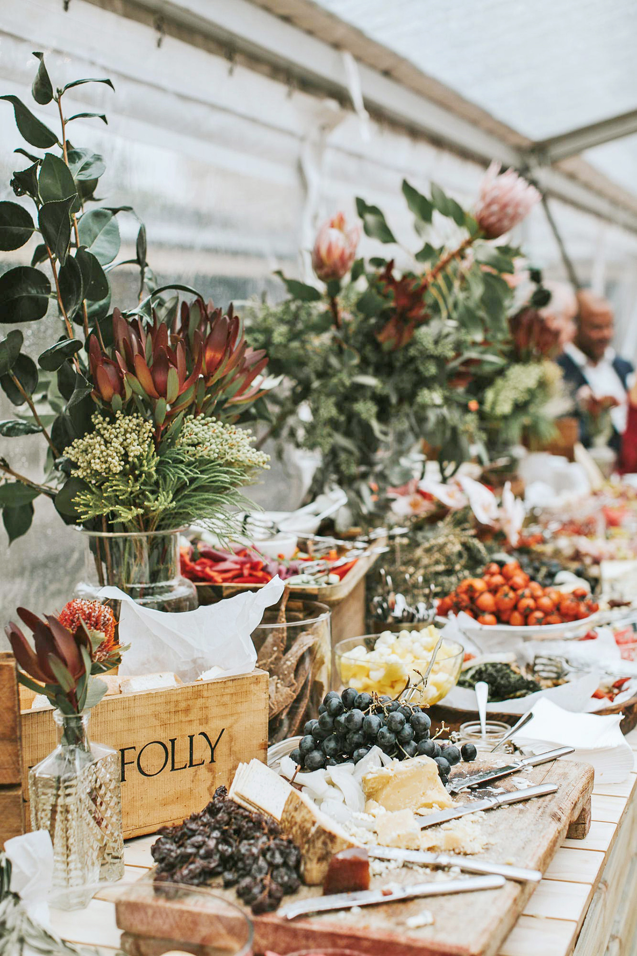 wedding grazing table with rustic bohemian decoration