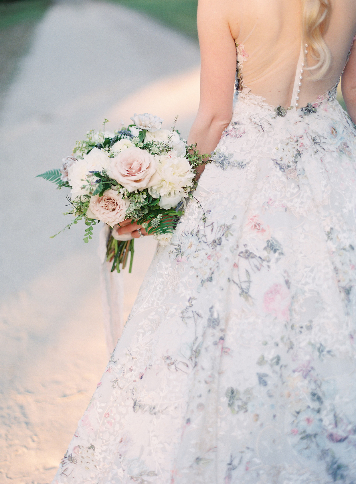chelsea john bride's wedding bouquet pastel blue and pink