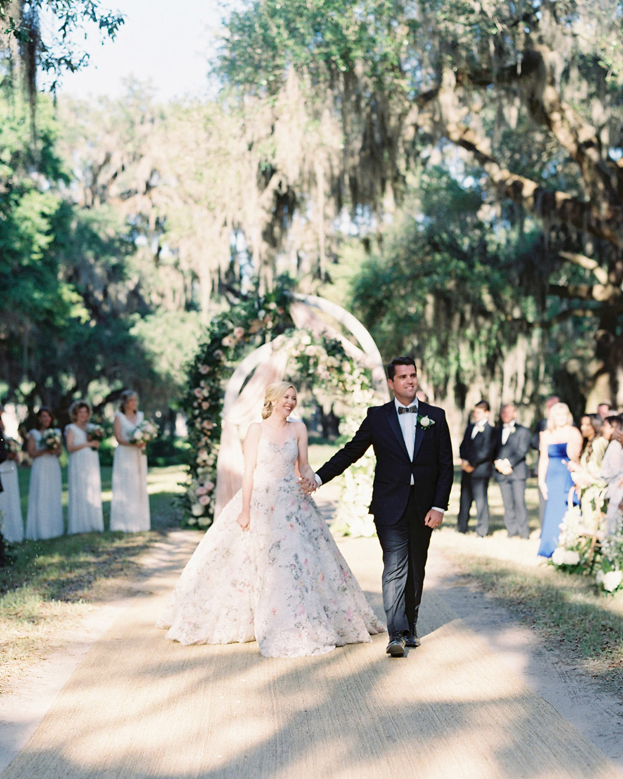 chelsea john wedding ceremony recessional bride and groom