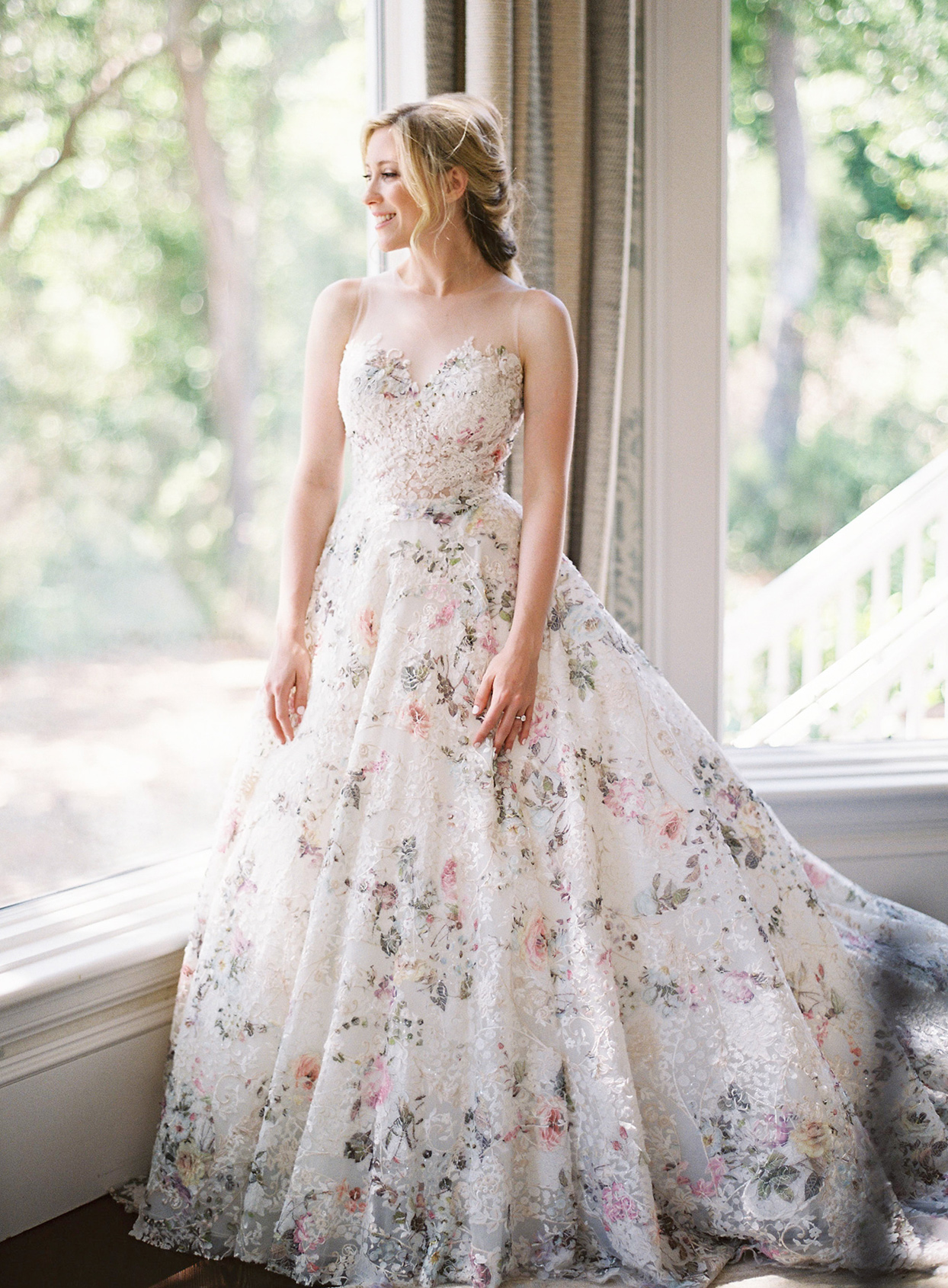 chelsea john wedding dress floral overlay
