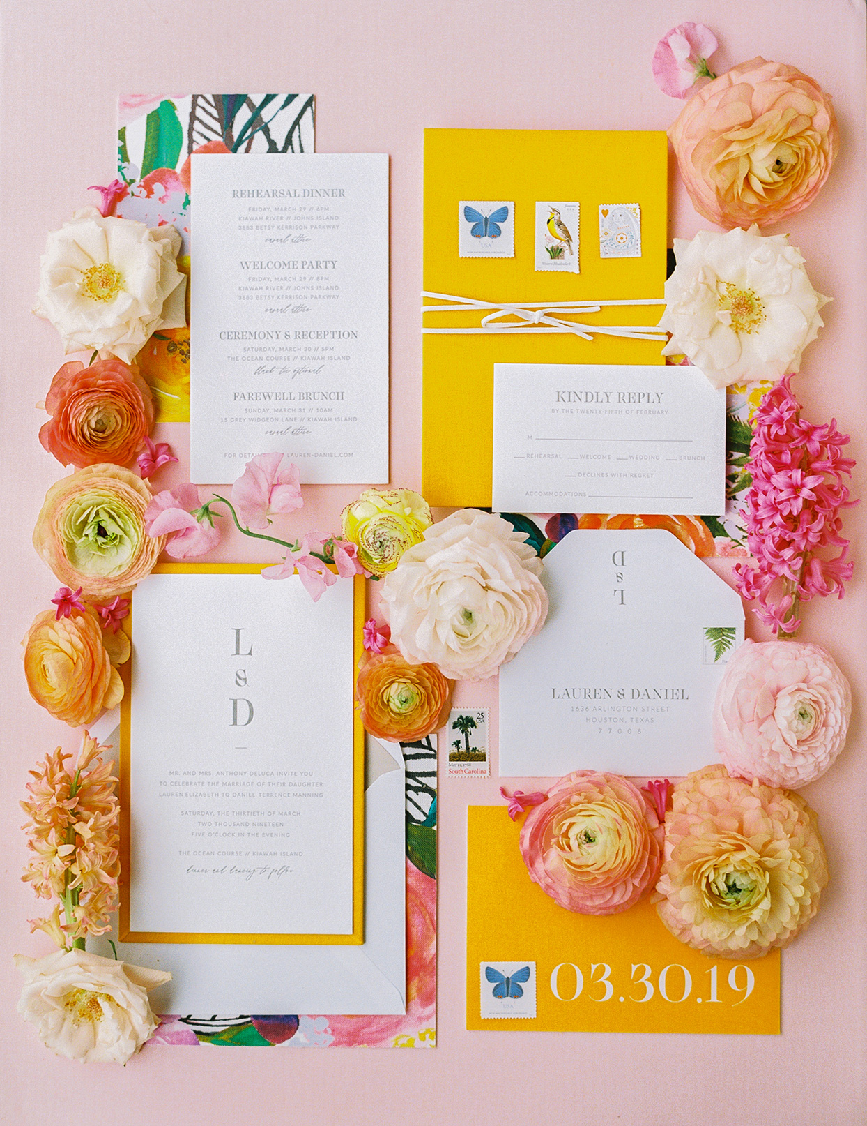 lauren dan colorful wedding invitation suite orange yellow and pink