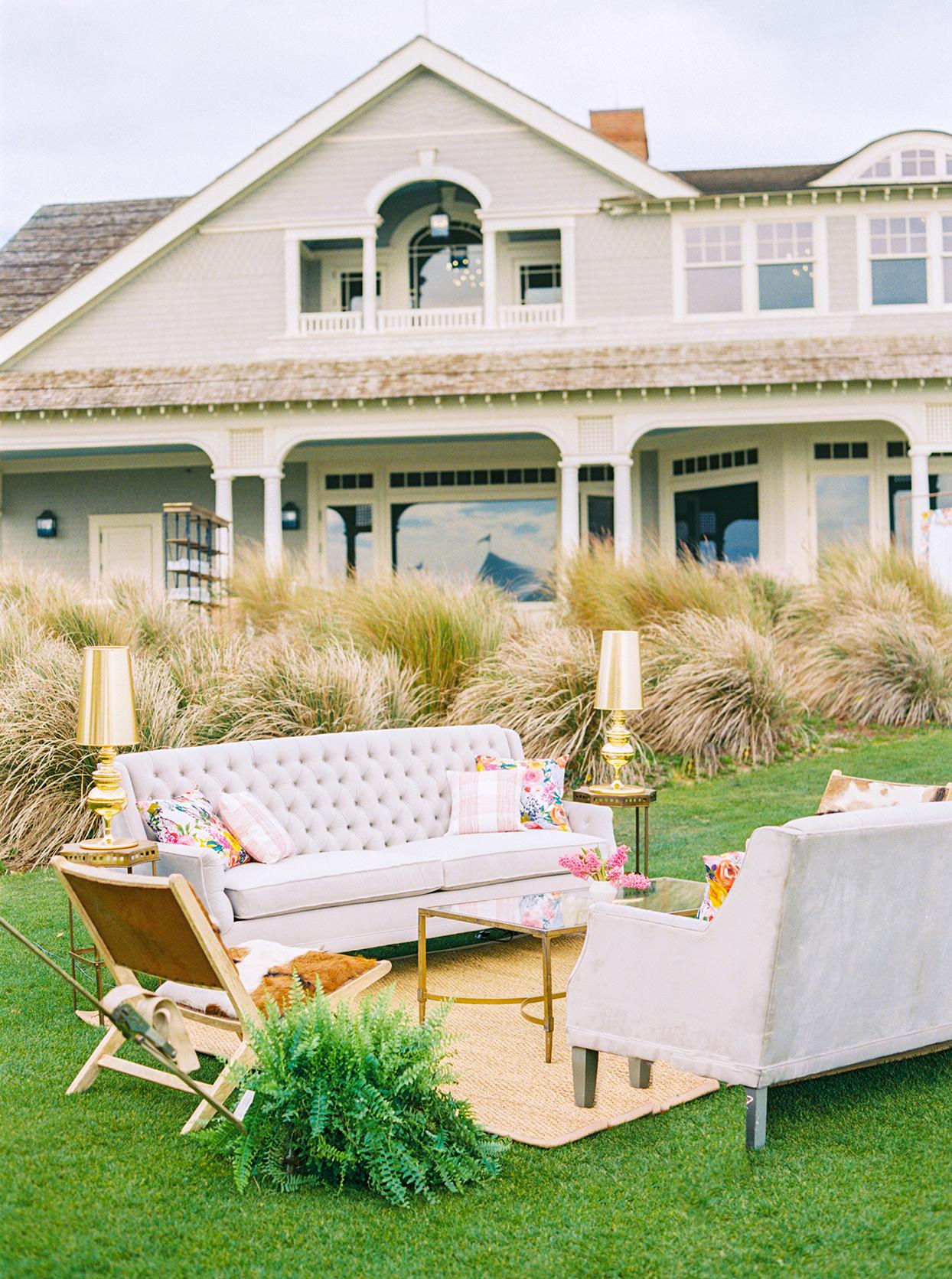 lauren dan outdoor wedding lounge area in front of beach house