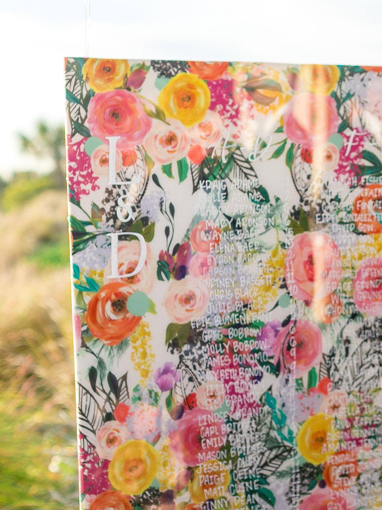 lauren dan wedding colorful floral seating chart