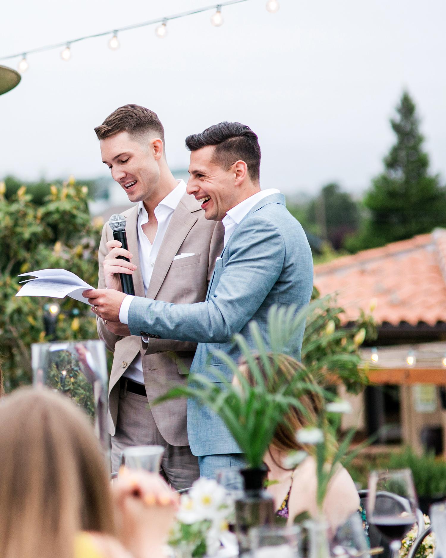david tim wedding toasts grooms couple