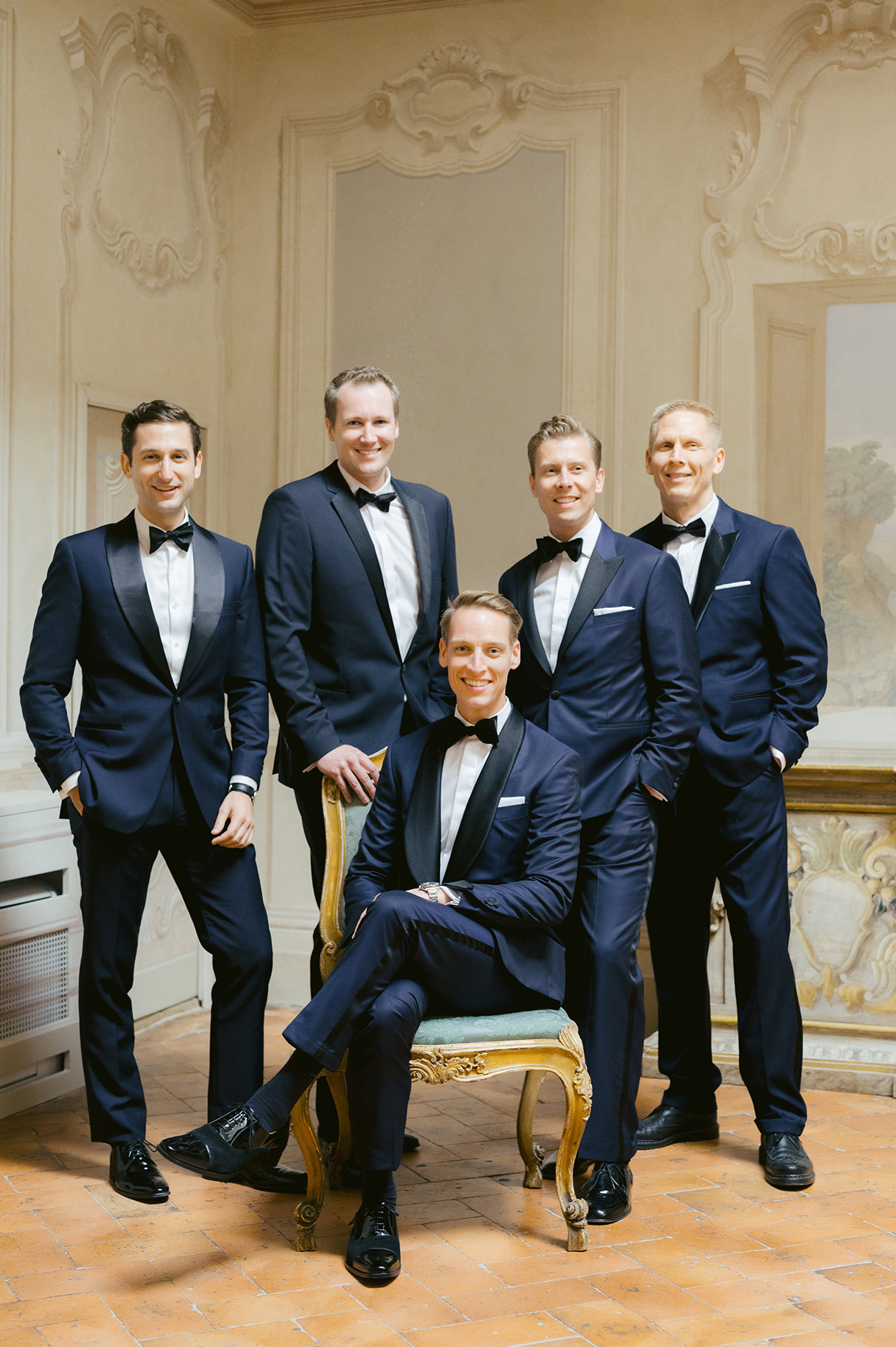 jennifer tobias wedding groomsmen in dark blue