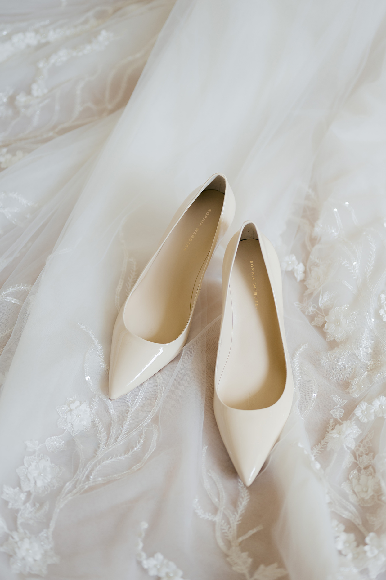 jennifer tobias bride's white wedding shoes