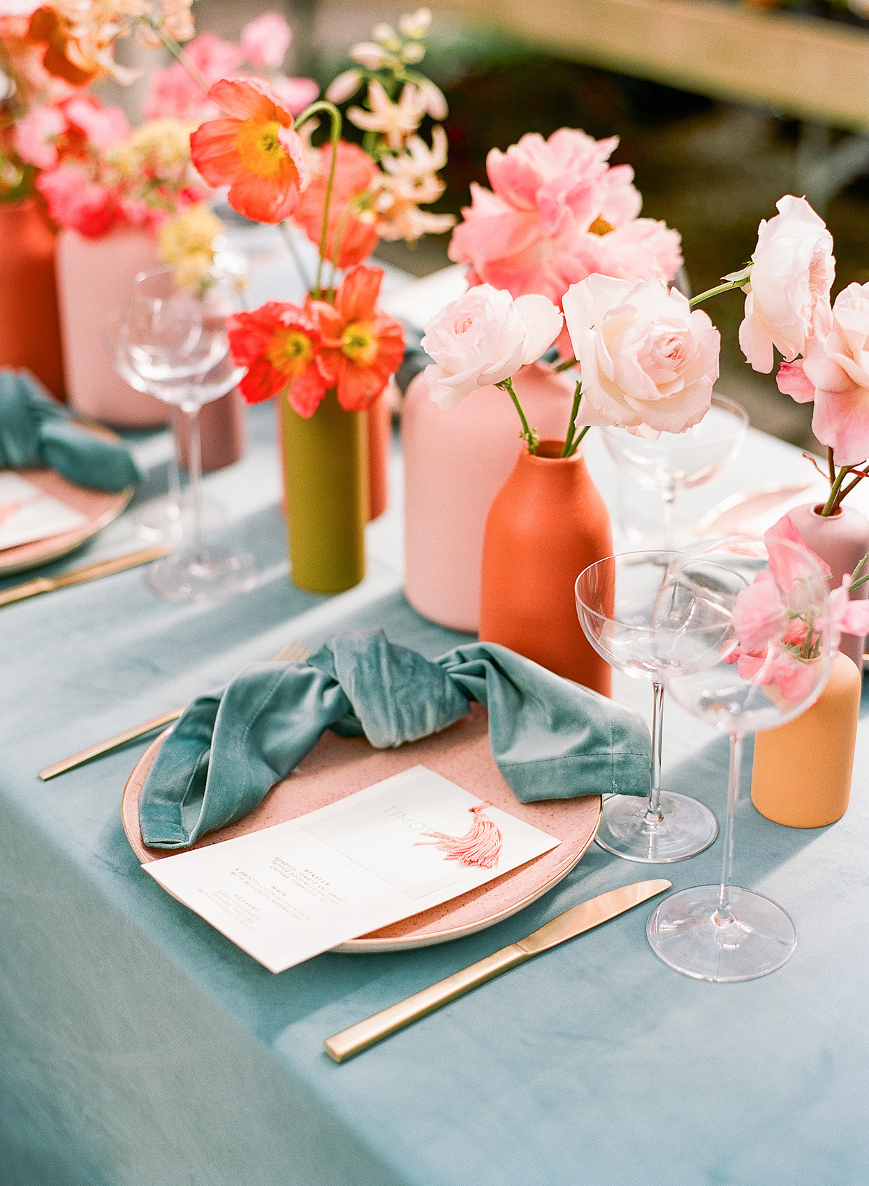 sea form and coral wedding brunch place setting