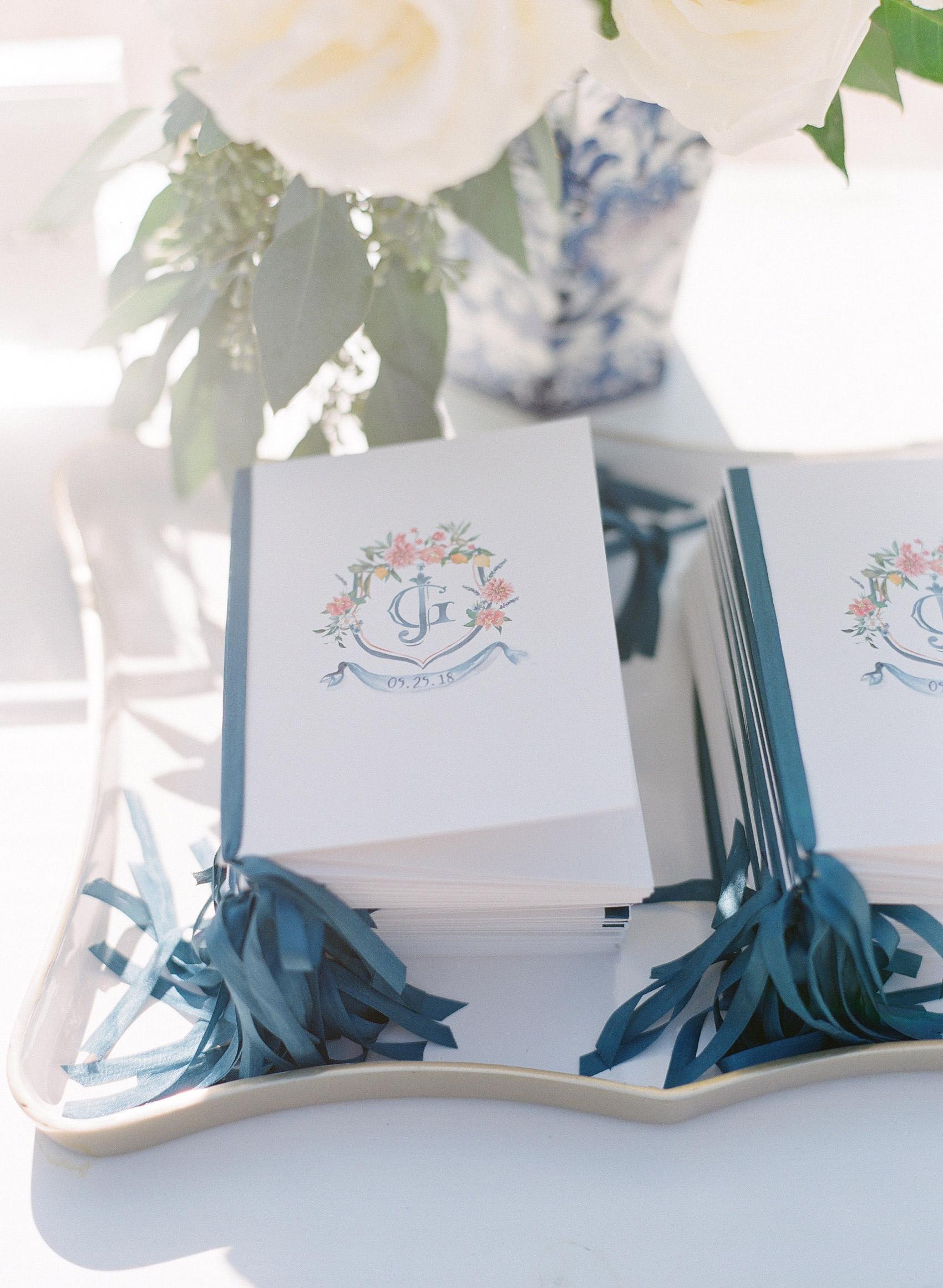 wedding ceremony programs with pastel crest