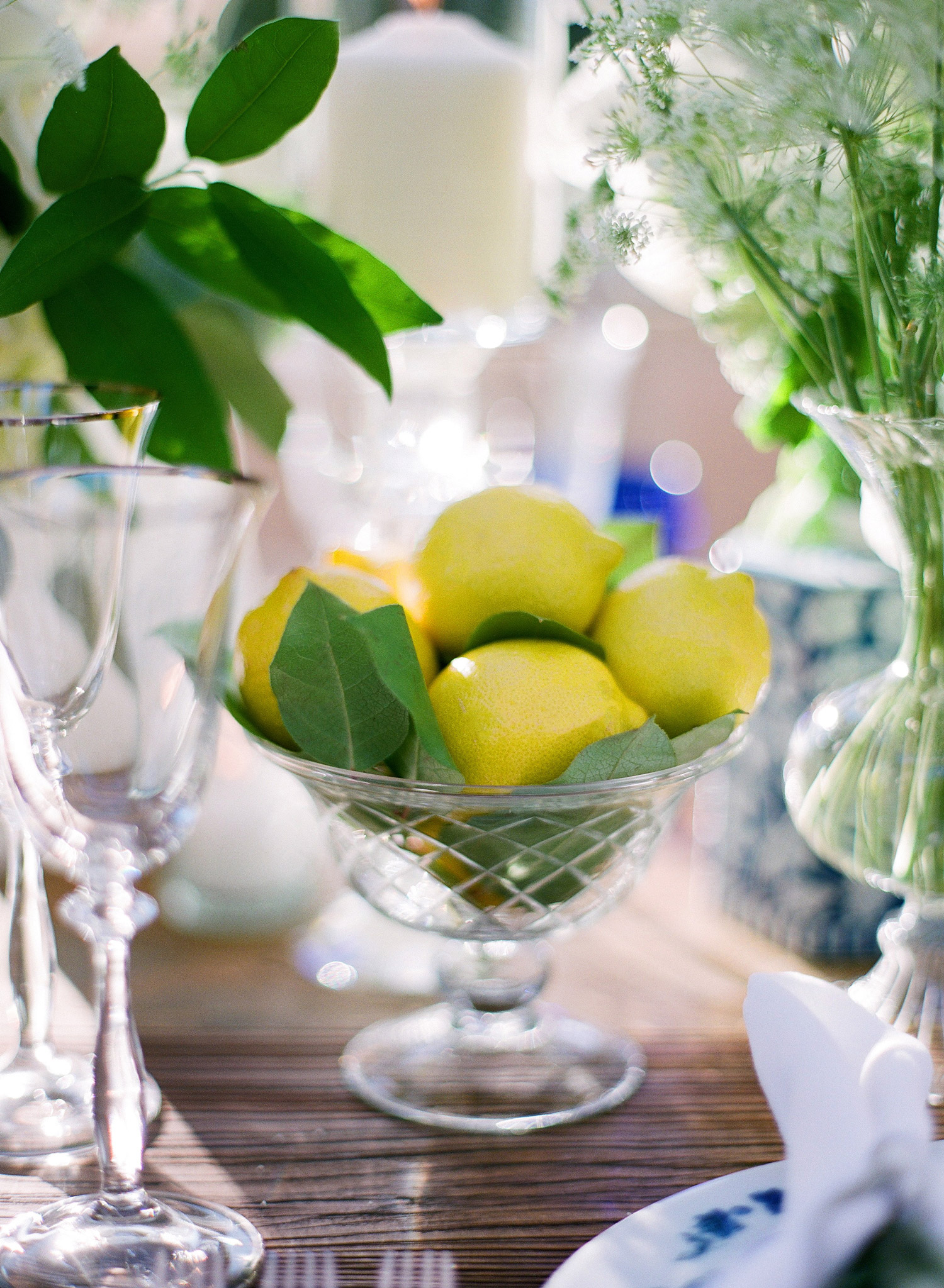 glass bowl of lemons reception table