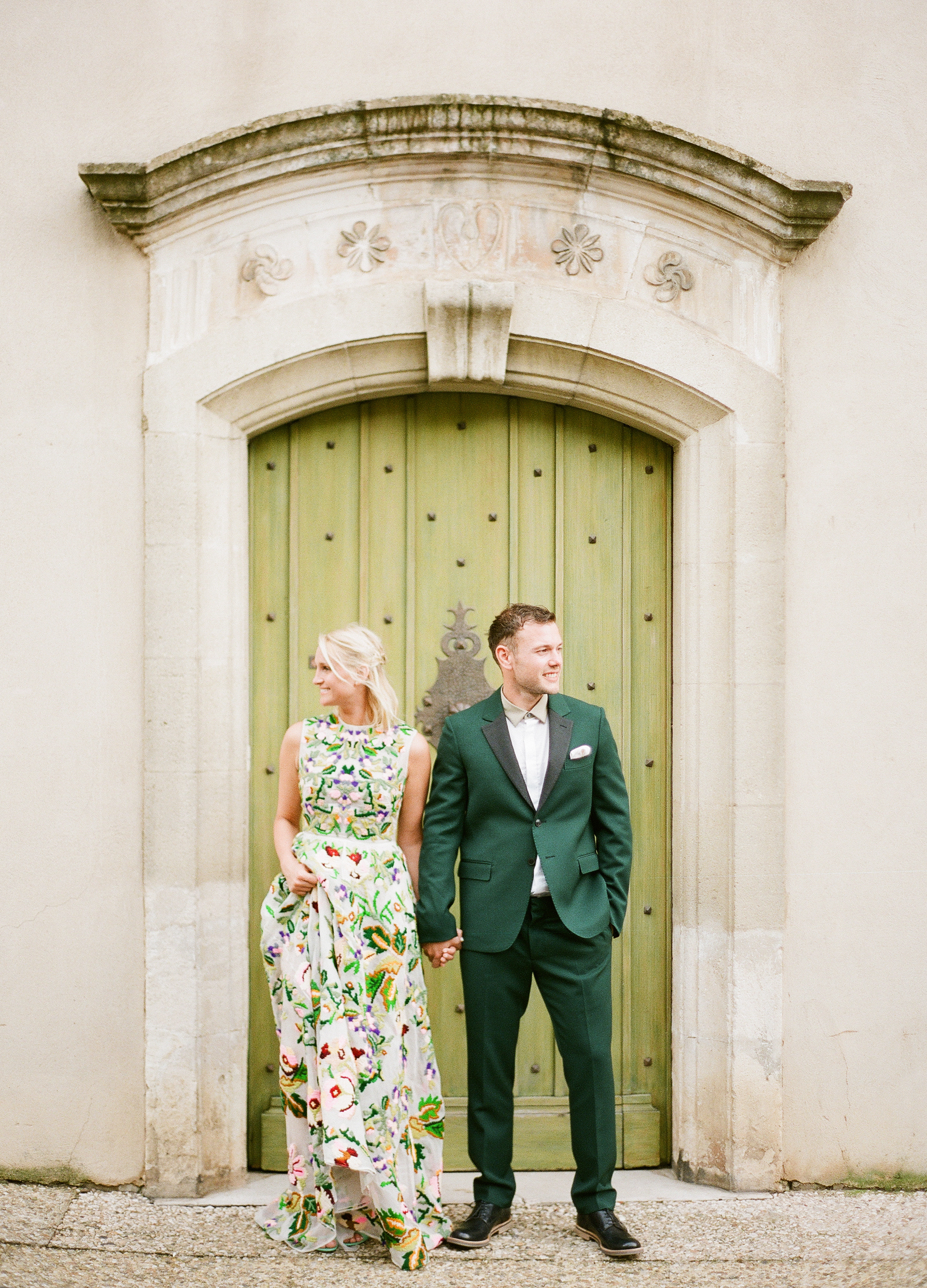 summer rehearsal dinner bride and groom outfits