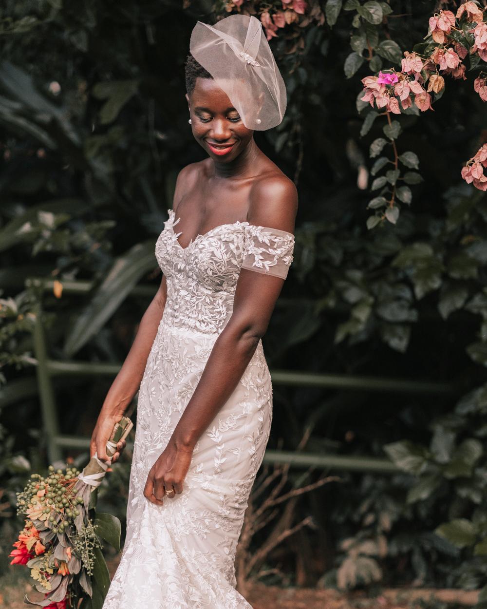 off-the-shoulder sheath floral wedding dress