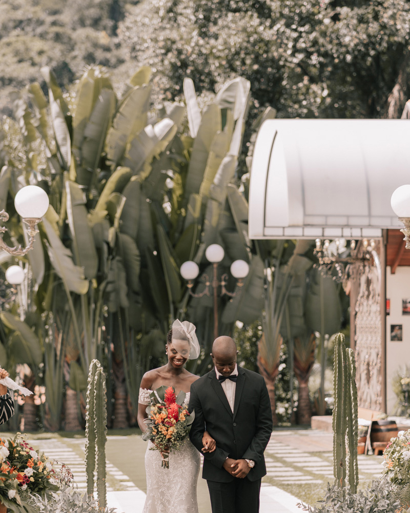 outdoor wedding processional siblings