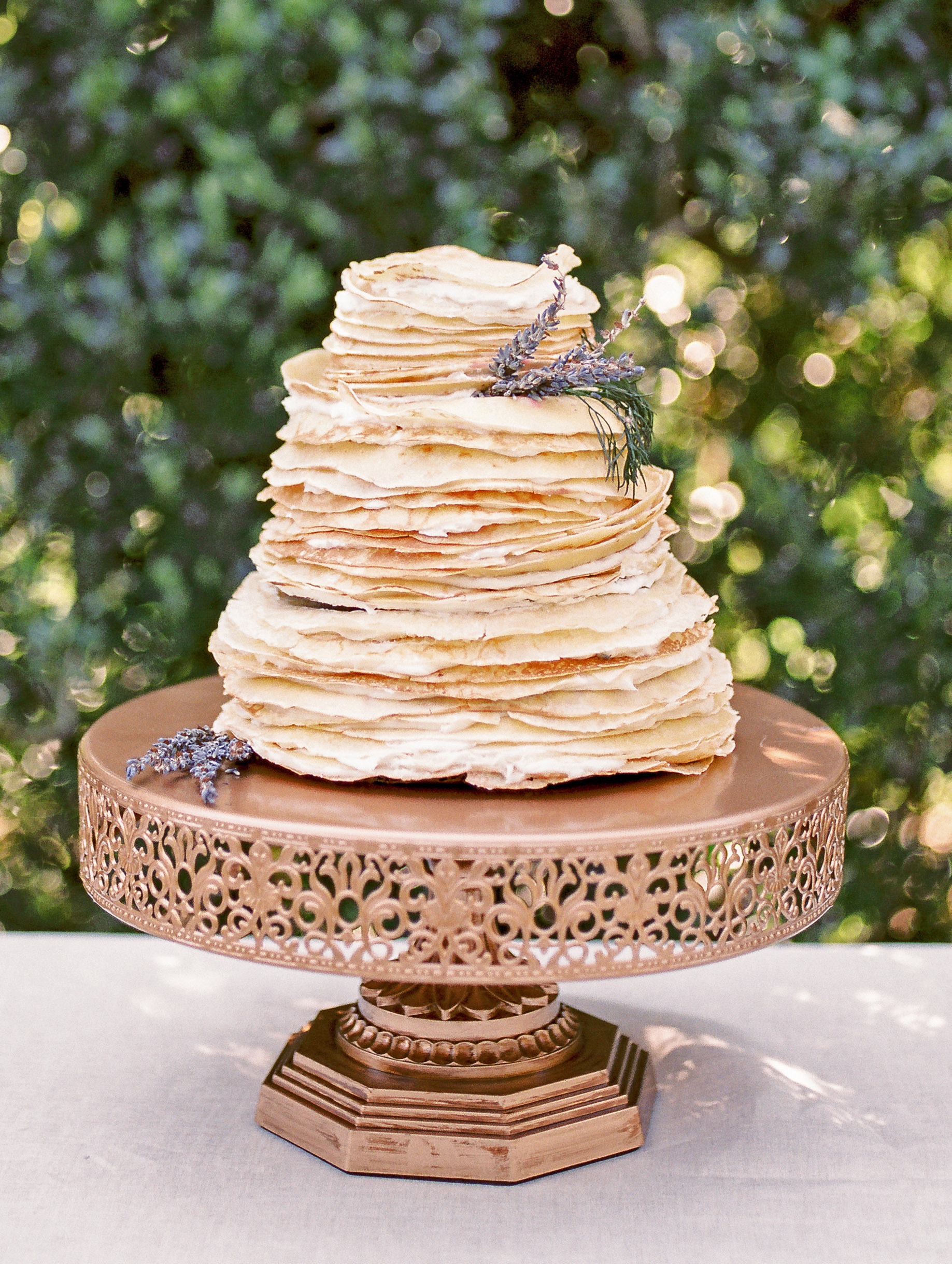stack of crepes on cake tray