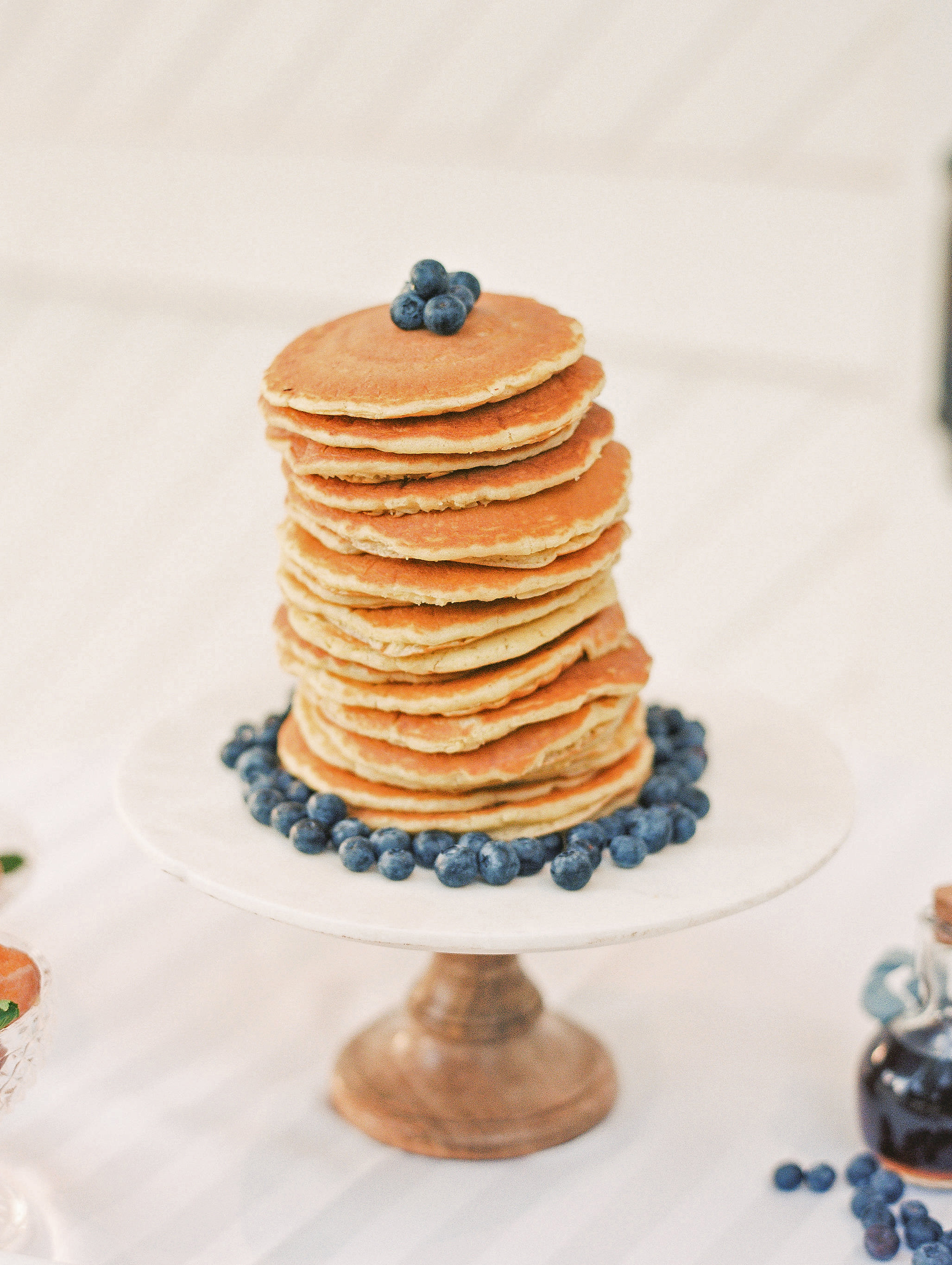 stack of pancakes on cake tray for wedding